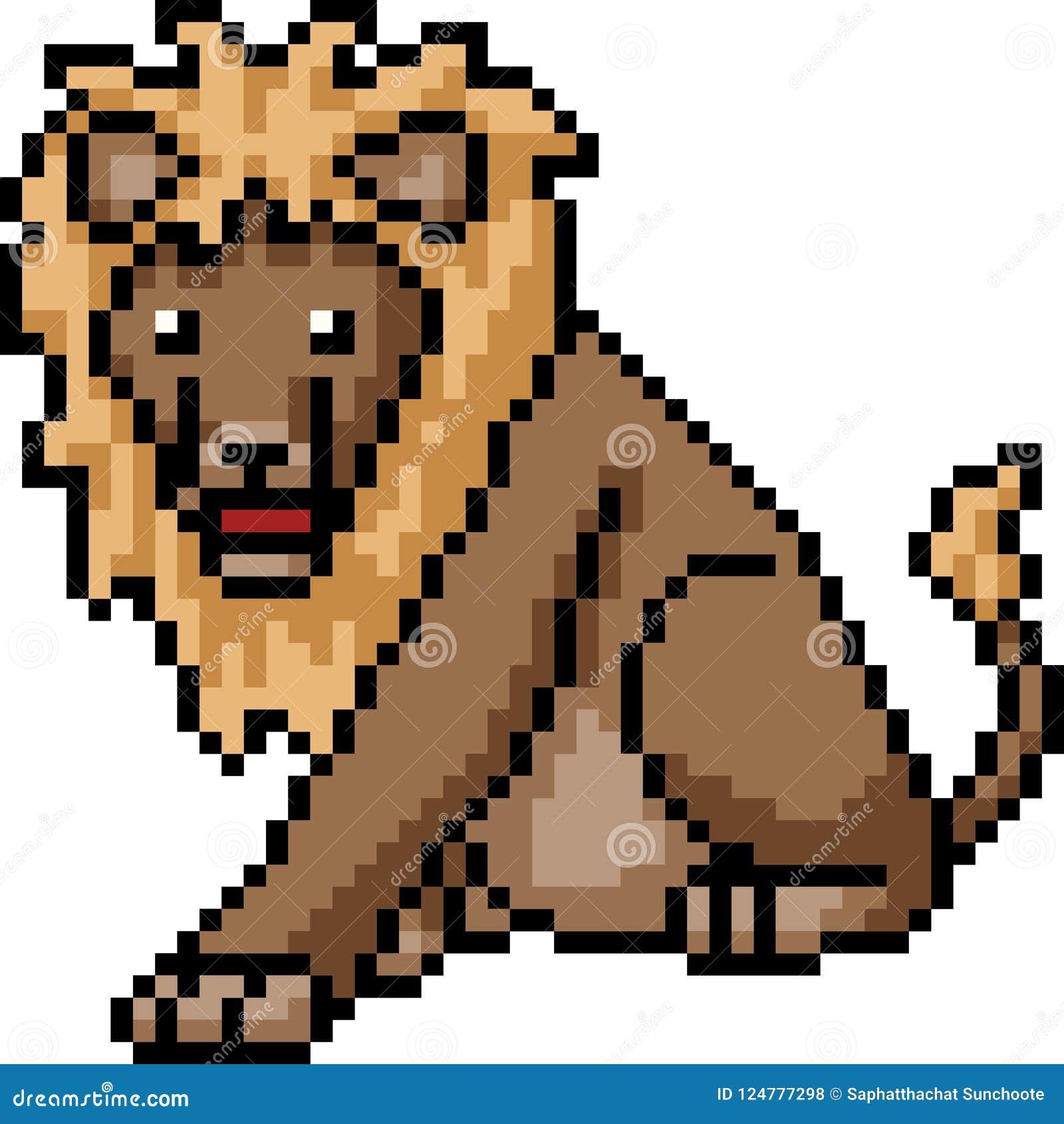 Wektorowy piksel sztuki lew