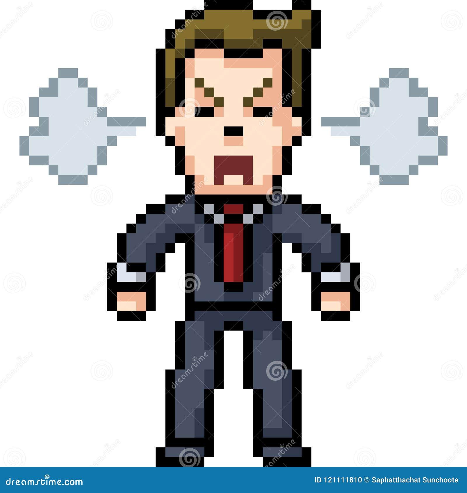 Wektorowy piksel sztuki mężczyzna gniewny