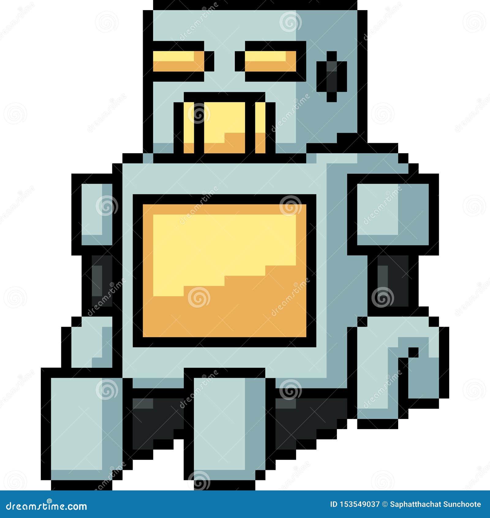 Wektorowy piksel sztuki zabawki robot