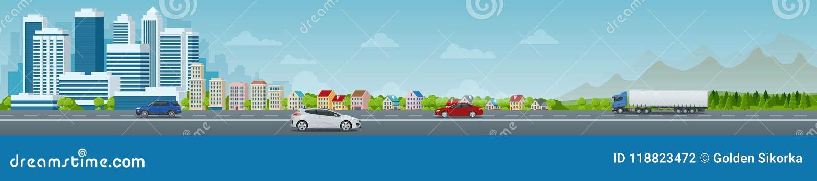 Wektorowy pojęcia miasto i podmiejski życie Miasto ulica, wielcy nowożytni budynki, pejzaż miejski, samochody miejski krajobrazu