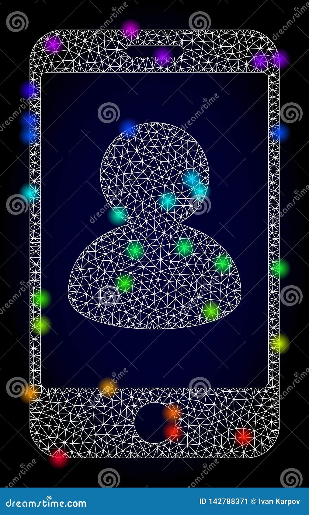 Wektorowy Poligonalny siatki Smartphone portret z tęcza Barwionymi Lekkimi punktami
