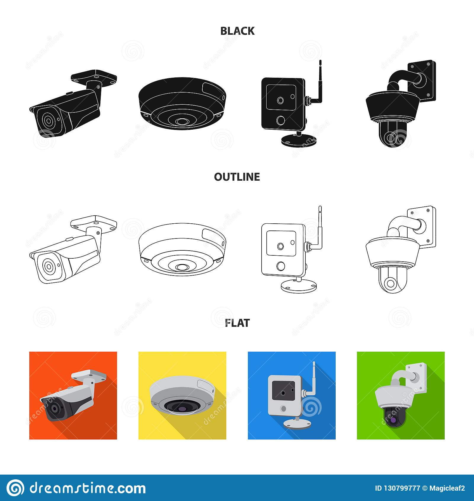 Wektorowy projekt cctv i kamery logo Set cctv i systemu wektorowa ikona dla zapasu