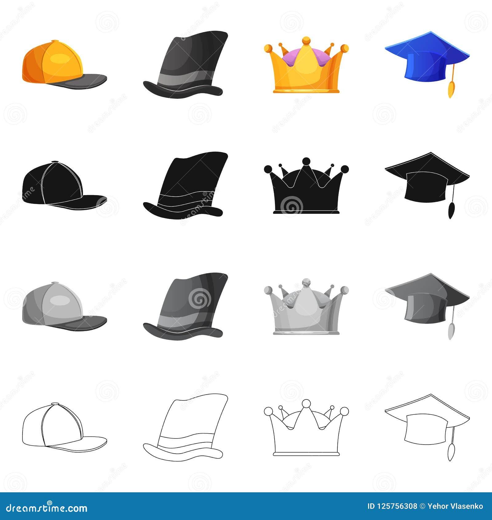 Wektorowy projekt headwear i nakrętki symbol Set headwear i akcesorium akcyjna wektorowa ilustracja