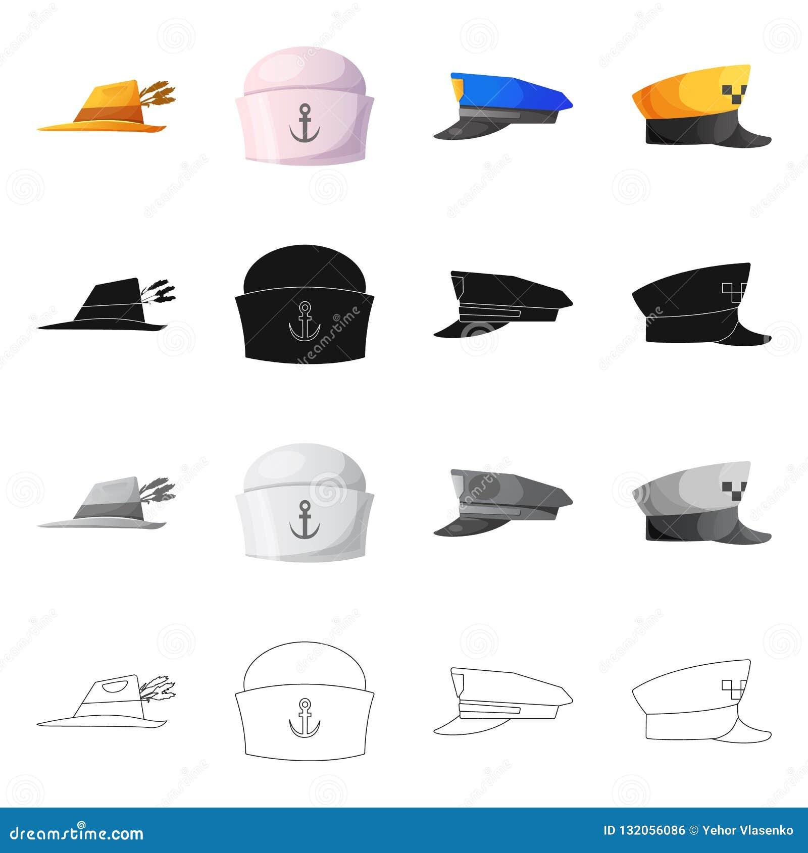 Wektorowy projekt kłobuku i nakrętki logo Set kłobuku i akcesorium akcyjna wektorowa ilustracja