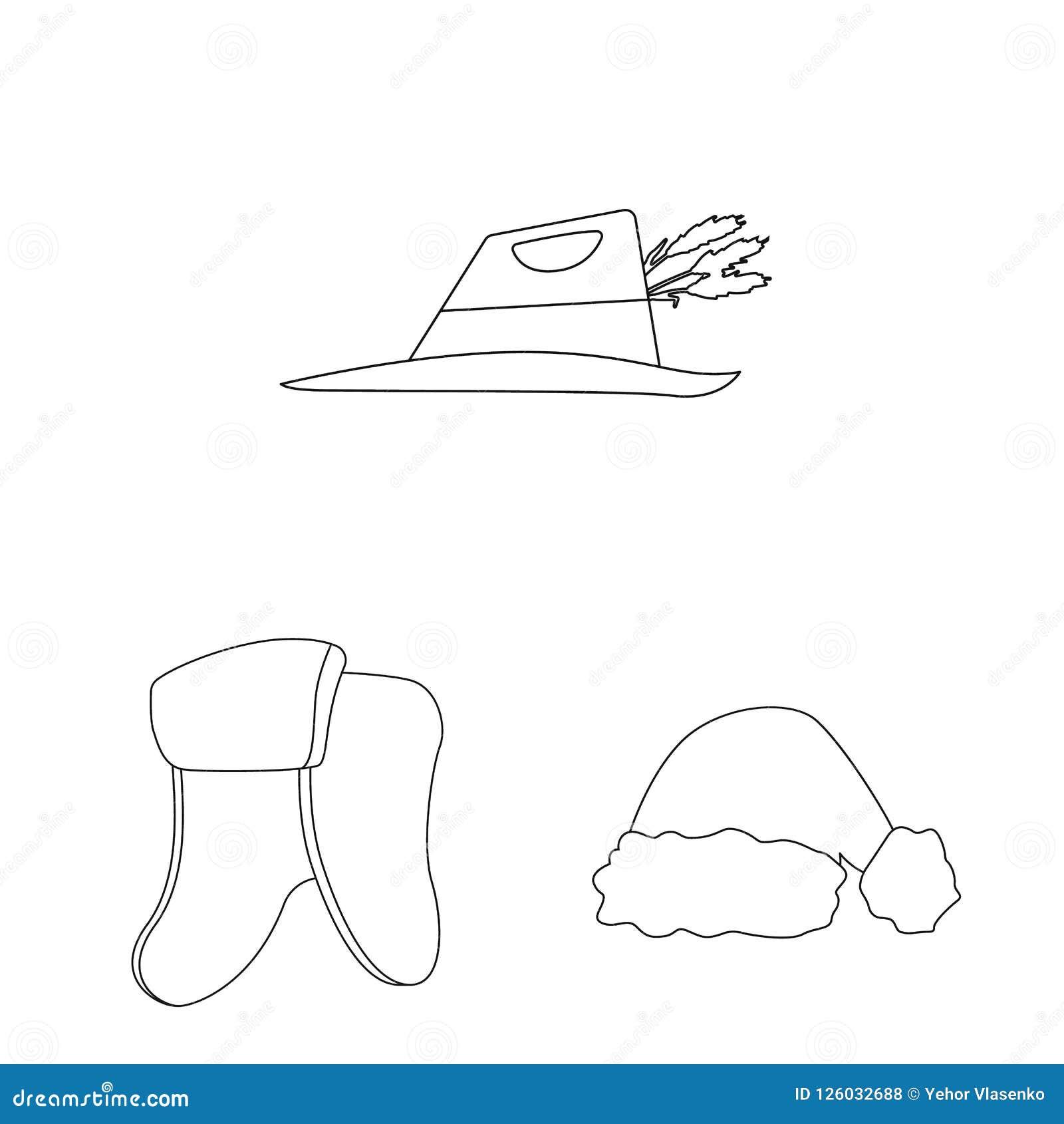 Wektorowy projekt kłobuku i nakrętki symbol Kolekcja kłobuku i akcesorium akcyjna wektorowa ilustracja