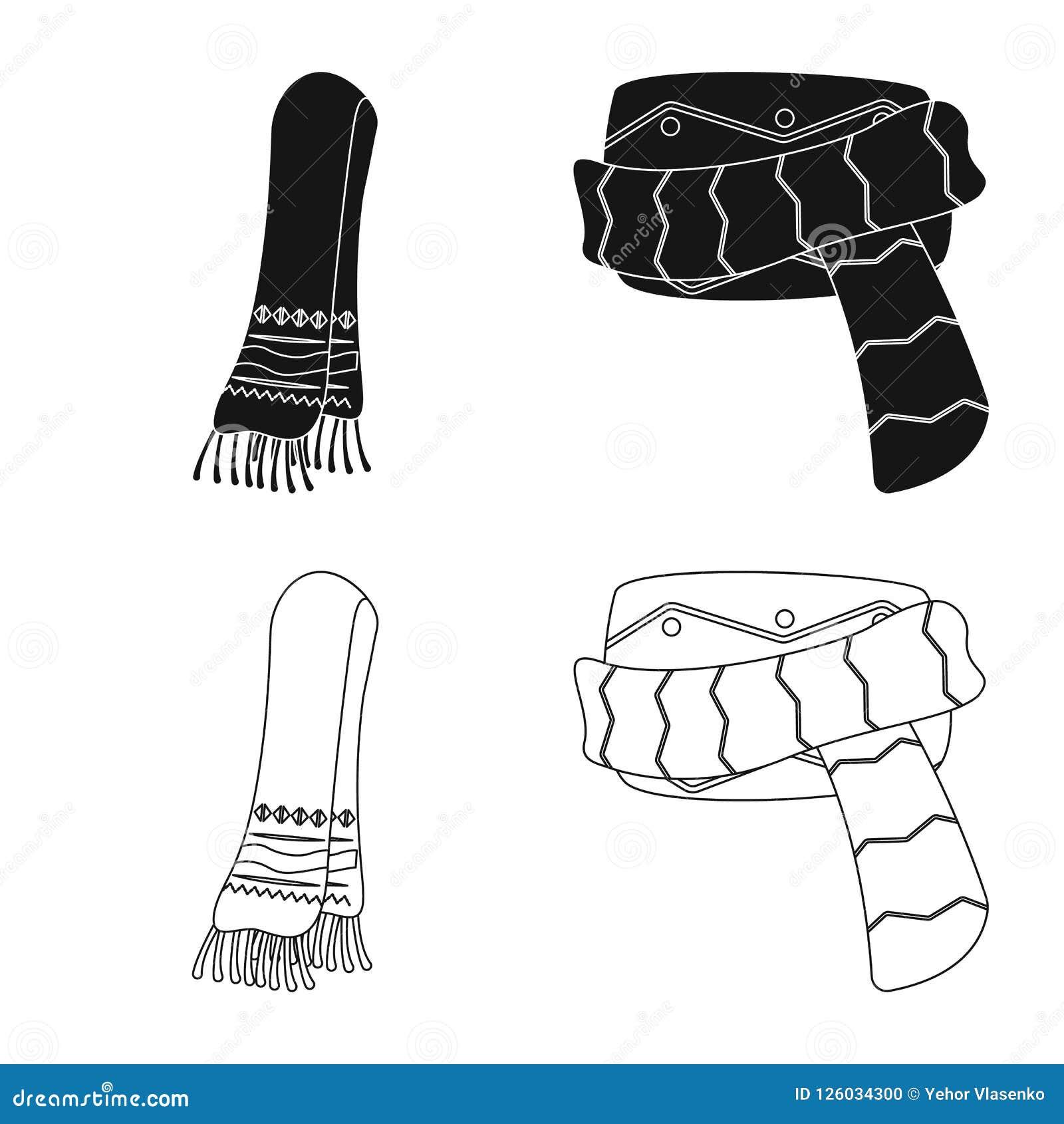 Wektorowy projekt szalika i chusty ikona Kolekcja szalika i akcesorium akcyjna wektorowa ilustracja