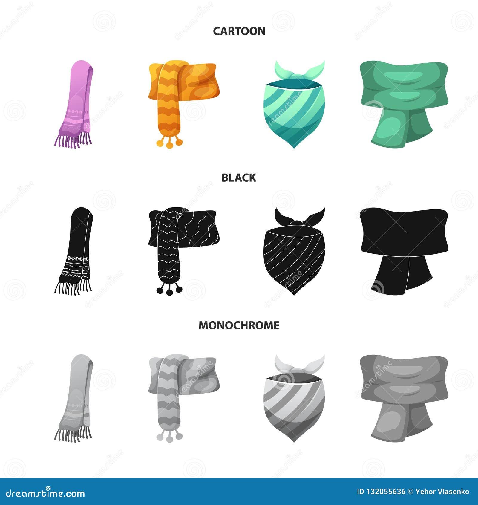 Wektorowy projekt szalika i chusty logo Kolekcja szalika i akcesorium akcyjna wektorowa ilustracja