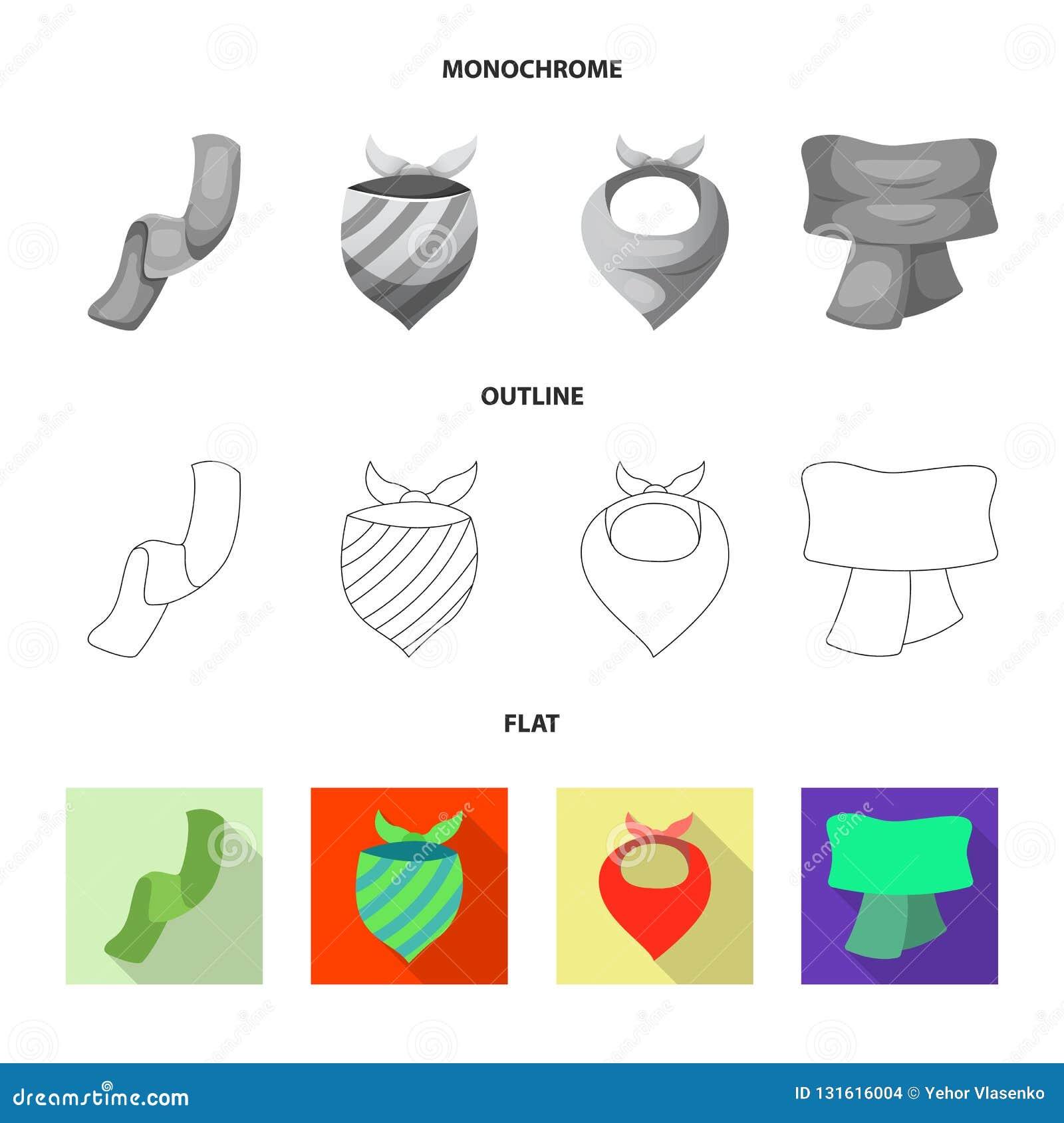 Wektorowy projekt szalika i chusty symbol Set szalika i akcesorium akcyjna wektorowa ilustracja