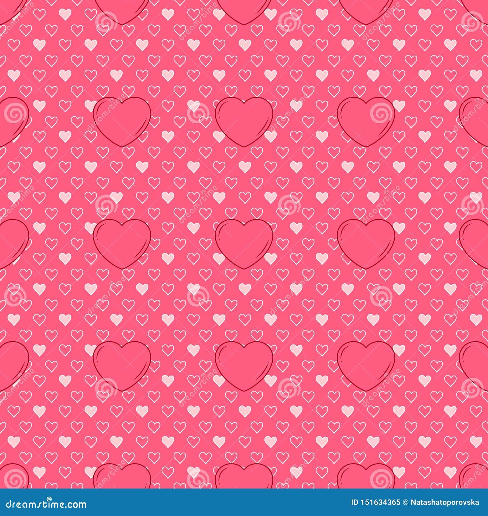 Wektorowy prosty bezszwowy śliczny projekt w valentines różni rozmiary i menchie dla projekta tło zaproszenia i karty, t