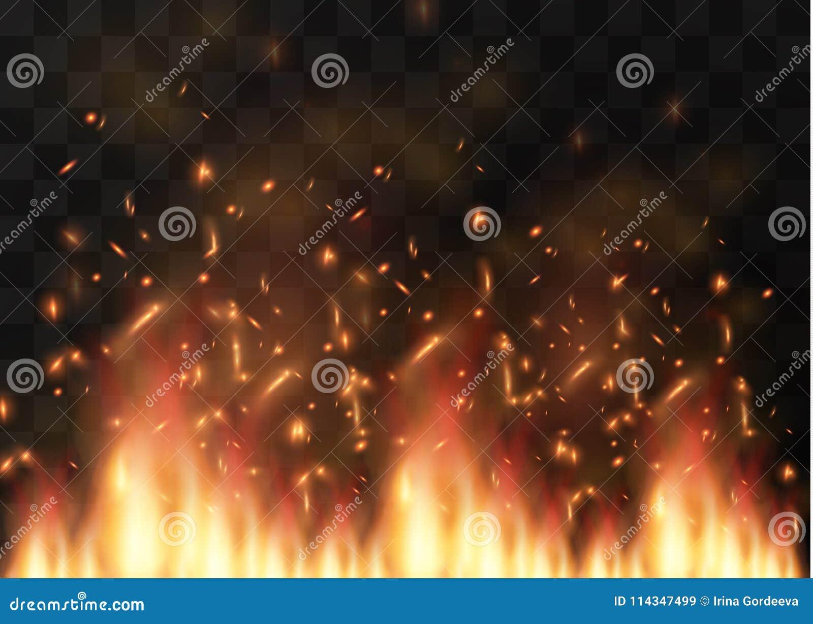 Wektorowy realistyczny pożarniczy przejrzysty specjalnego skutka element Gorący płomień pęka ognisko Upał narzuta Wektoru ogień