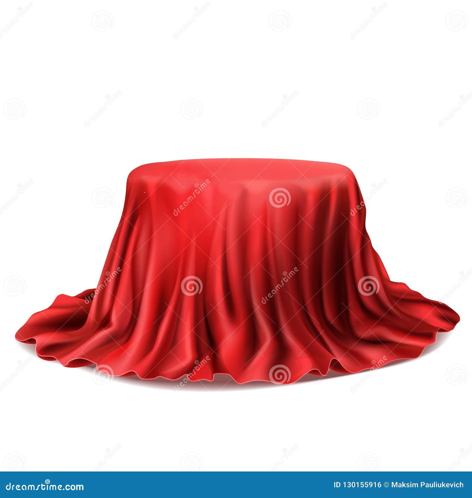 Wektorowy realistyczny pudełko zakrywający z czerwonym jedwabniczym płótnem