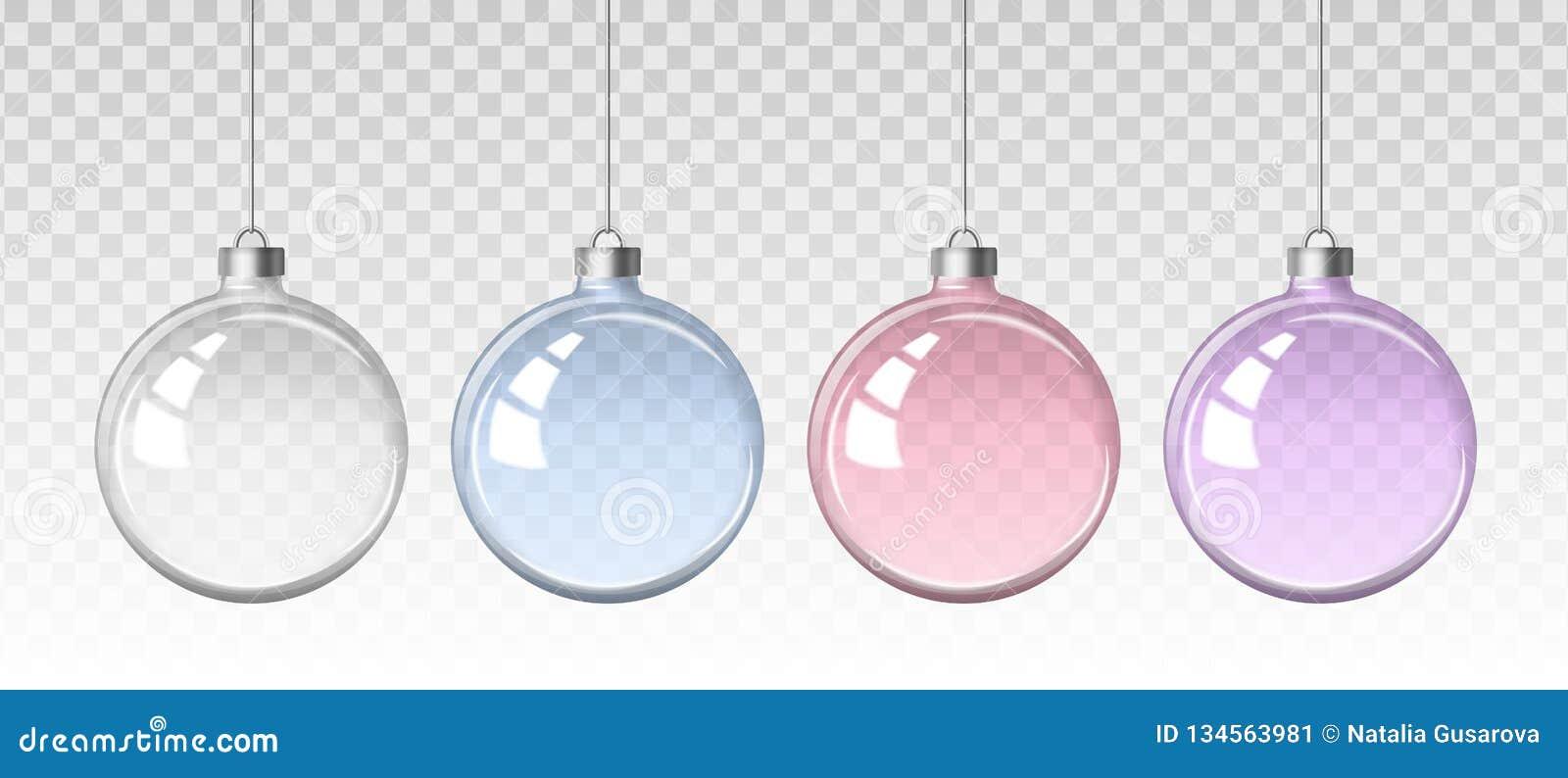 Wektorowy realistyczny set wizerunki szklane przejrzyste Bożenarodzeniowe piłki