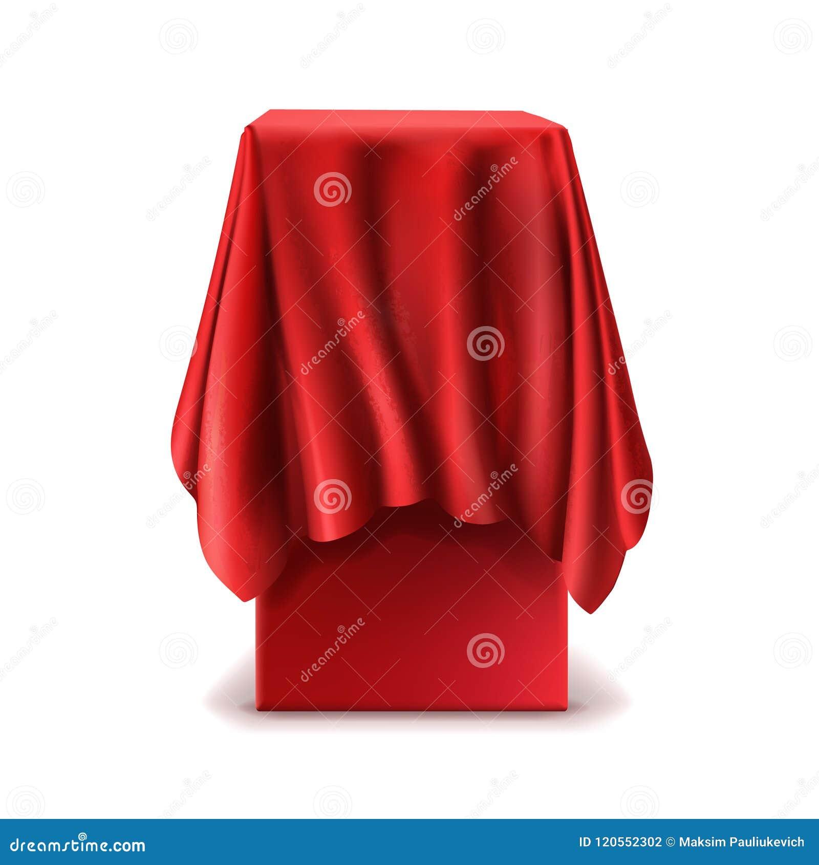 Wektorowy realistyczny stojak zakrywający z czerwonym jedwabniczym płótnem