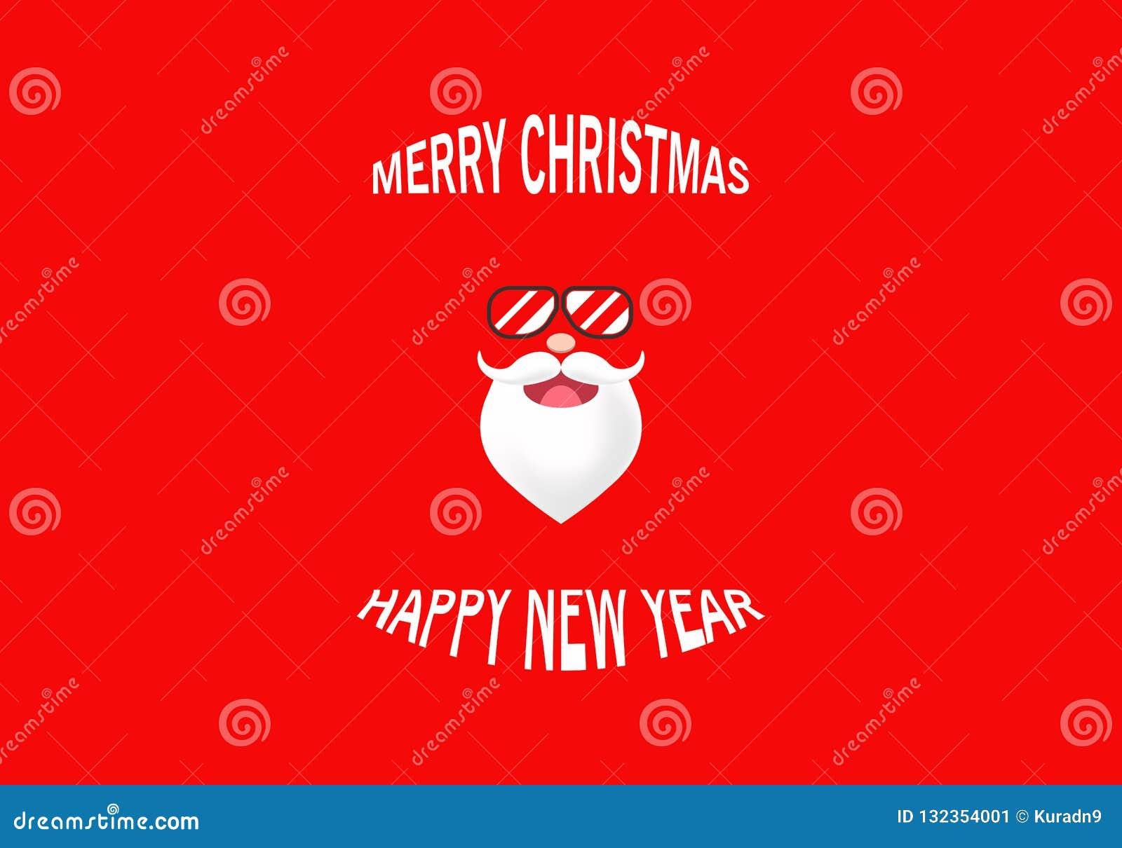 Wektorowy retro Święty Mikołaj charakter jest ubranym eyeglass z odbiciem w czerwonym tle