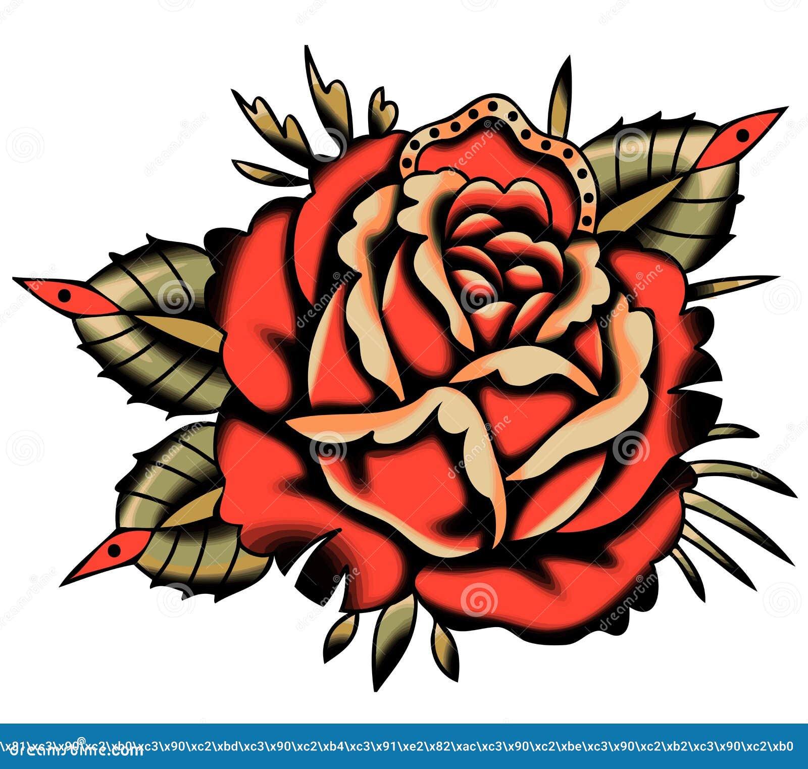 Wektorowy rewolucjonistki róży tatuażu styl Vhite tło