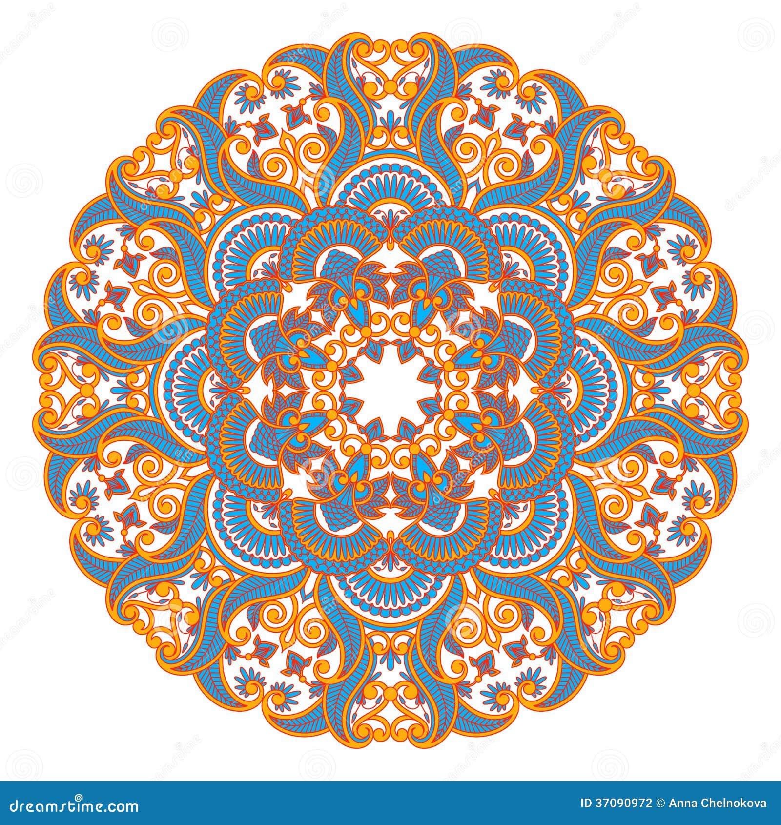 Download Wektorowy round ornament. ilustracja wektor. Ilustracja złożonej z kwiaty - 37090972