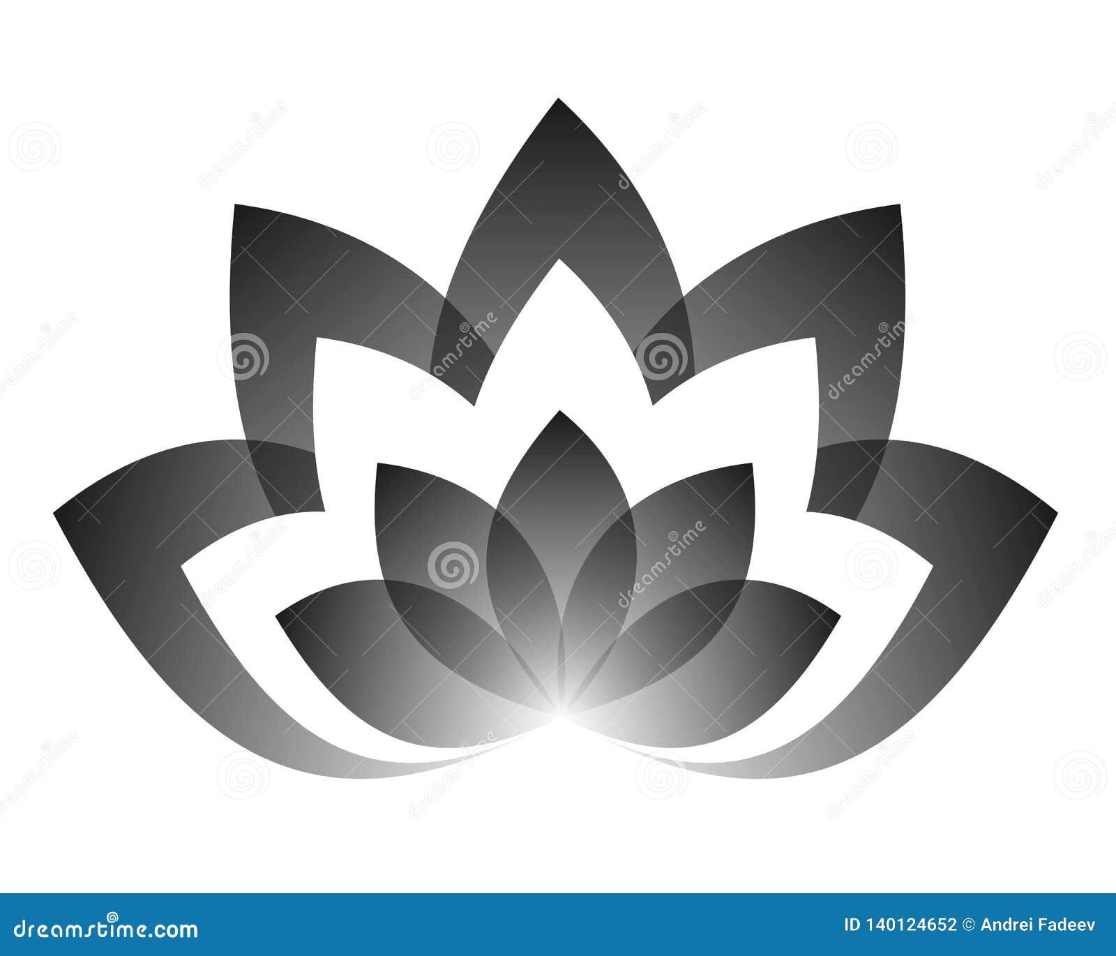 Wektorowy rysunek lotos w czarnym koloru yin Yang