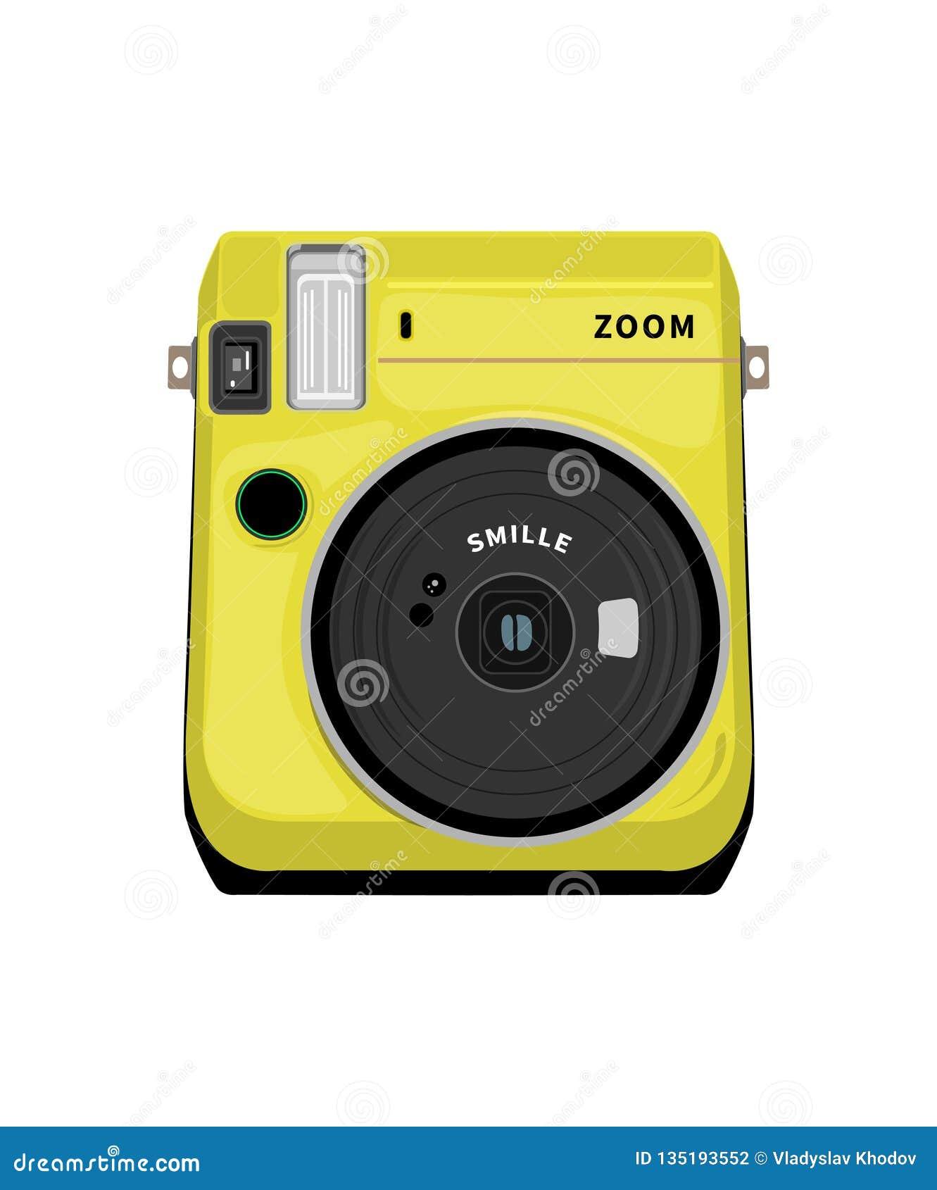 Wektorowy rysunkowy fotografii kamery koloru kolor żółty na białym tle