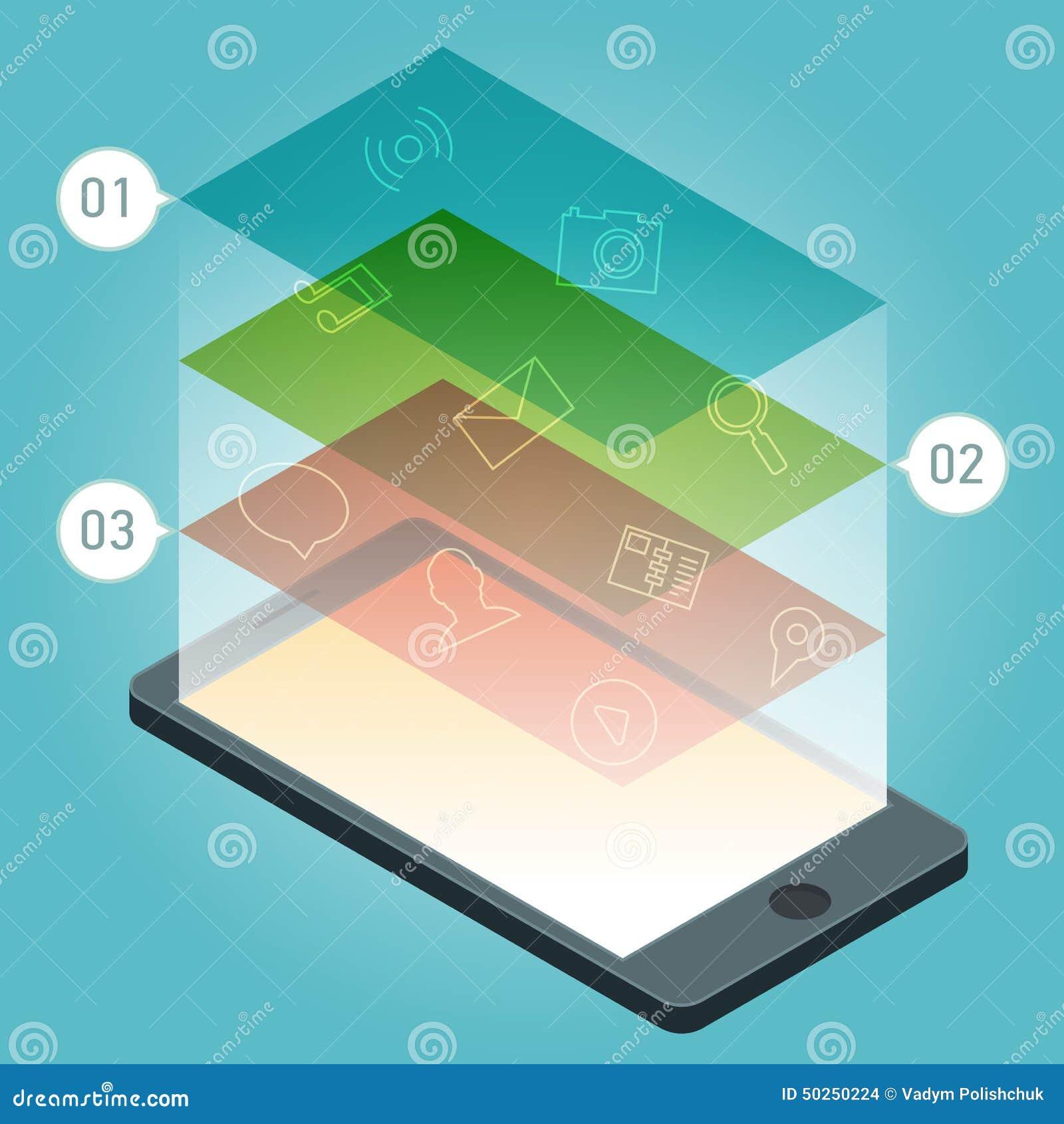 Wektorowy smartphone przyrząd z zastosowanie ikonami i infographic elementami w płaskim projekcie