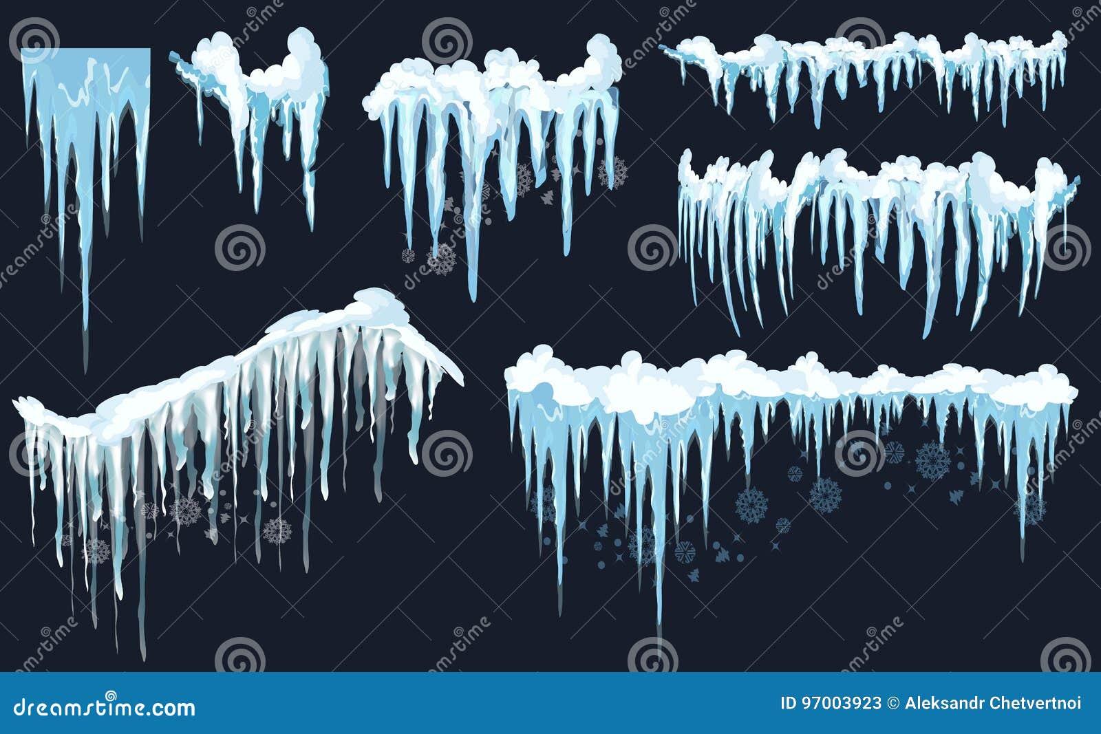 Wektorowy sopel i śnieżny elementu clipart Różna śnieżna nakrętka