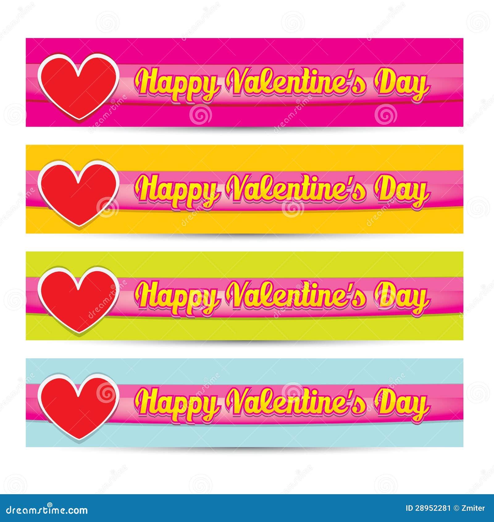 Wektorowy Szczęśliwy valentines dnia sztandaru set