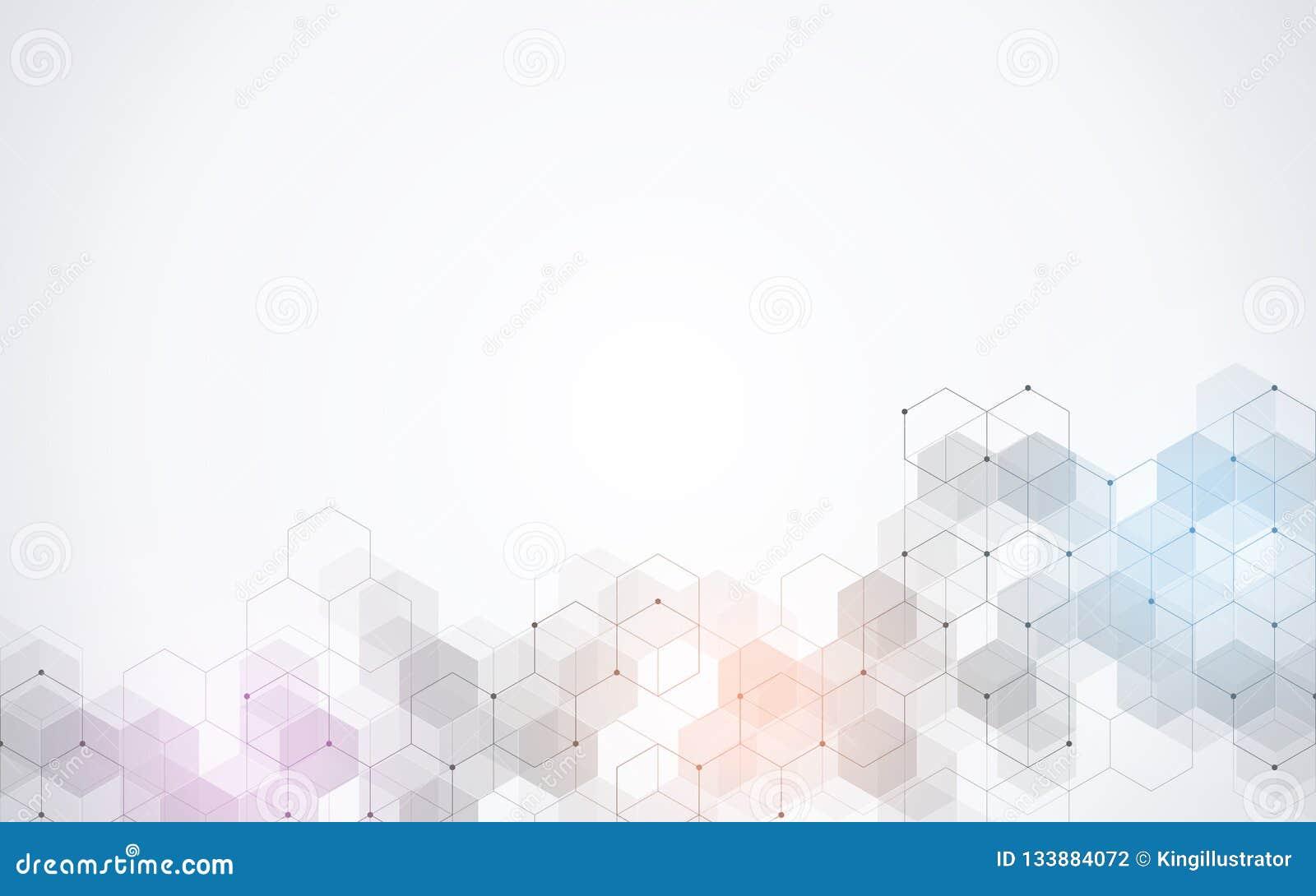 Wektorowy sześciokąta wzór Geometryczny abstrakcjonistyczny tło z prostymi heksagonalnymi elementami Medyczny, technologia lub na