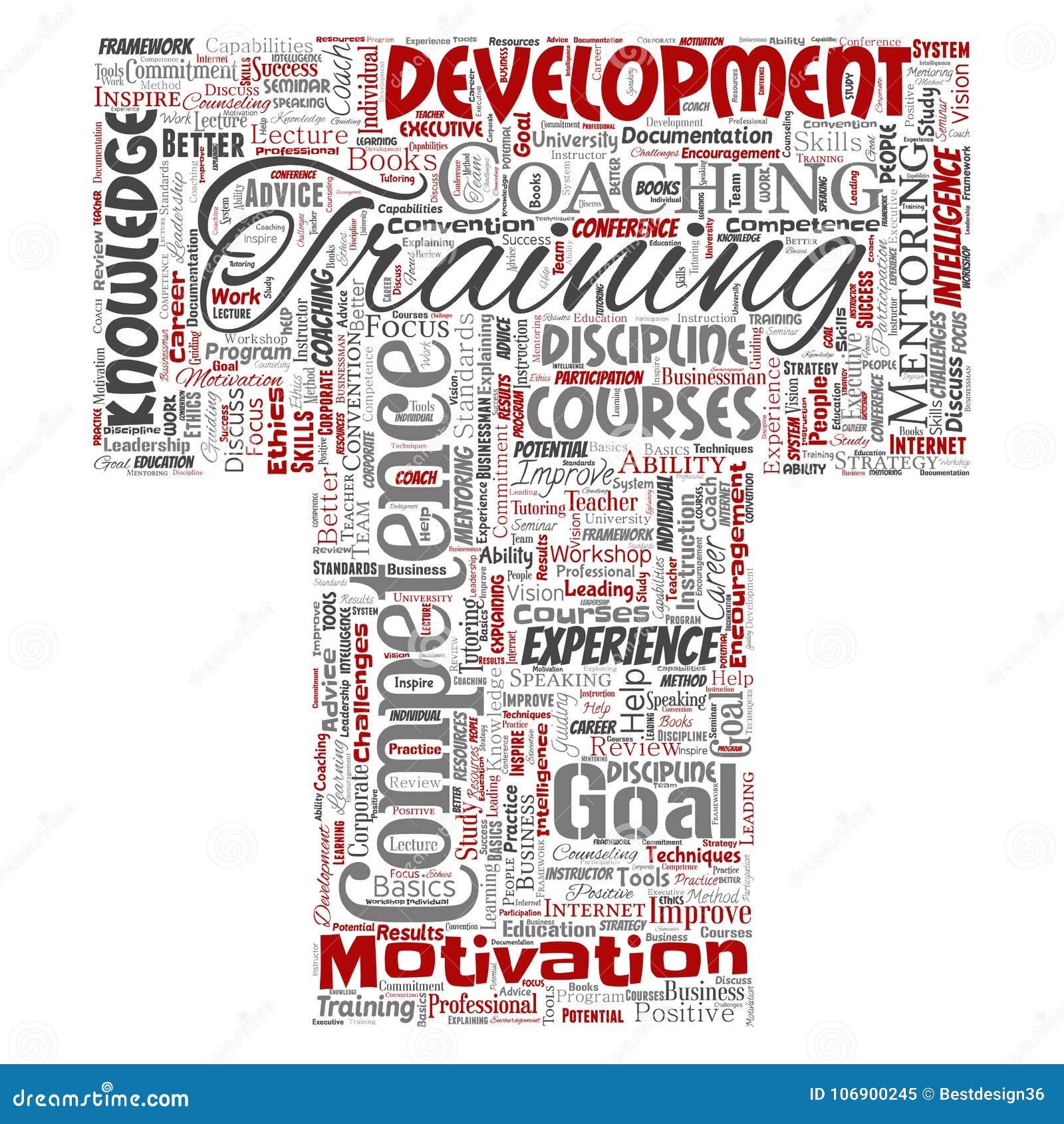 Wektorowy szkolenie, trenowanie lub uczenie, nauki chrzcielnicy T słowa listowa chmura na tle Kolaż obowiązki mentora, dev
