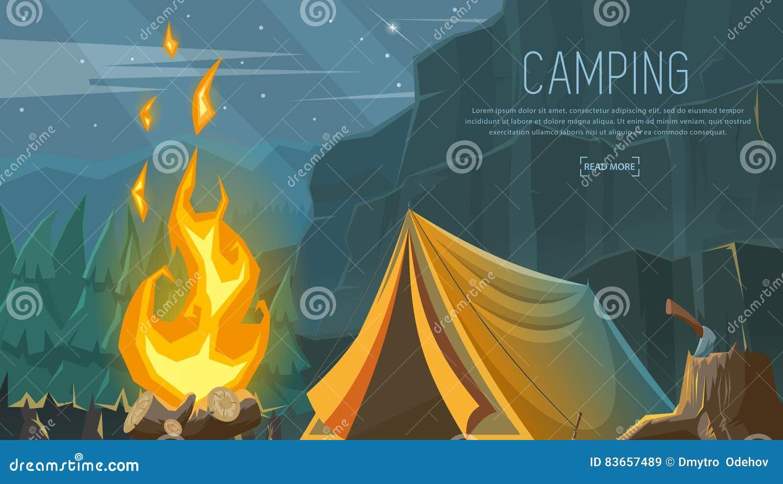 Wektorowy sztandar na temacie camping, Wycieczkujący, Wspinający się, Chodzący sporty