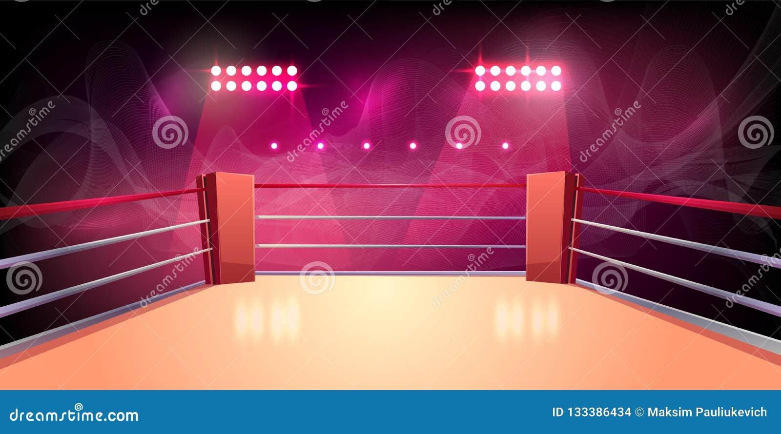 Wektorowy tło bokserski pierścionek, iluminująca arena