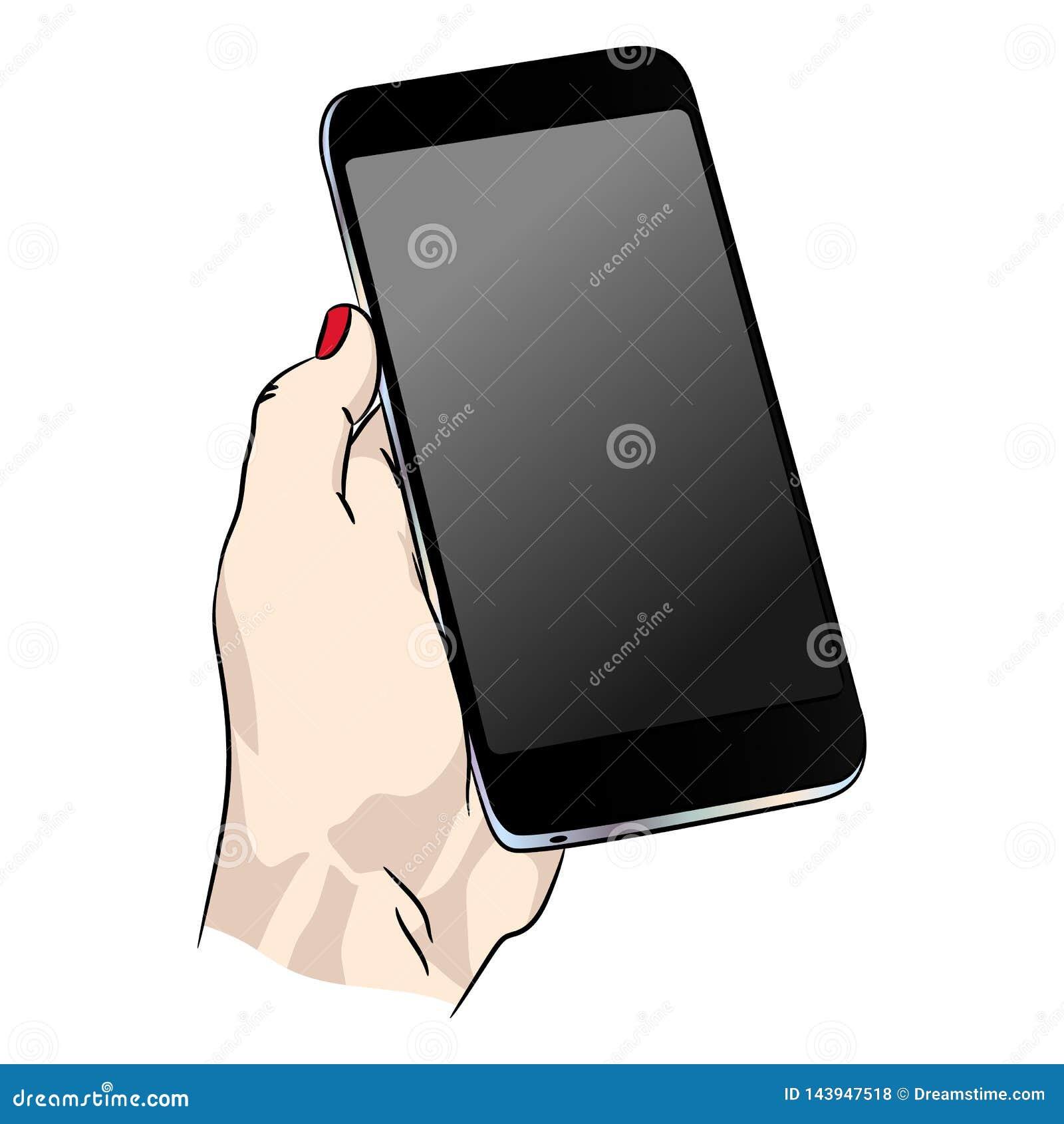 Wektorowy telefon w ludzkiej ręce Mądrze dorosły smartphone z pustym zmroku ekranem