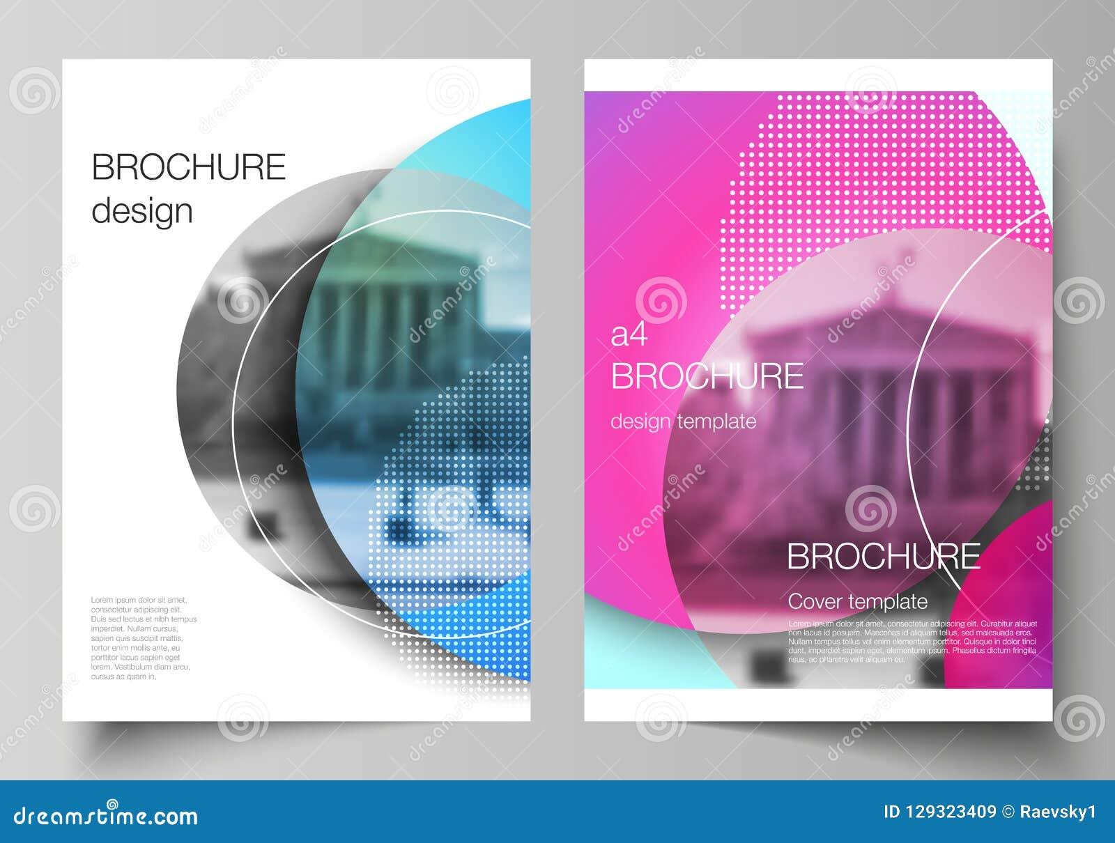 Wektorowy układ A4 formata nowożytni okładkowi mockups projektuje szablony dla broszurki, magazyn, ulotka, broszura, rocznik
