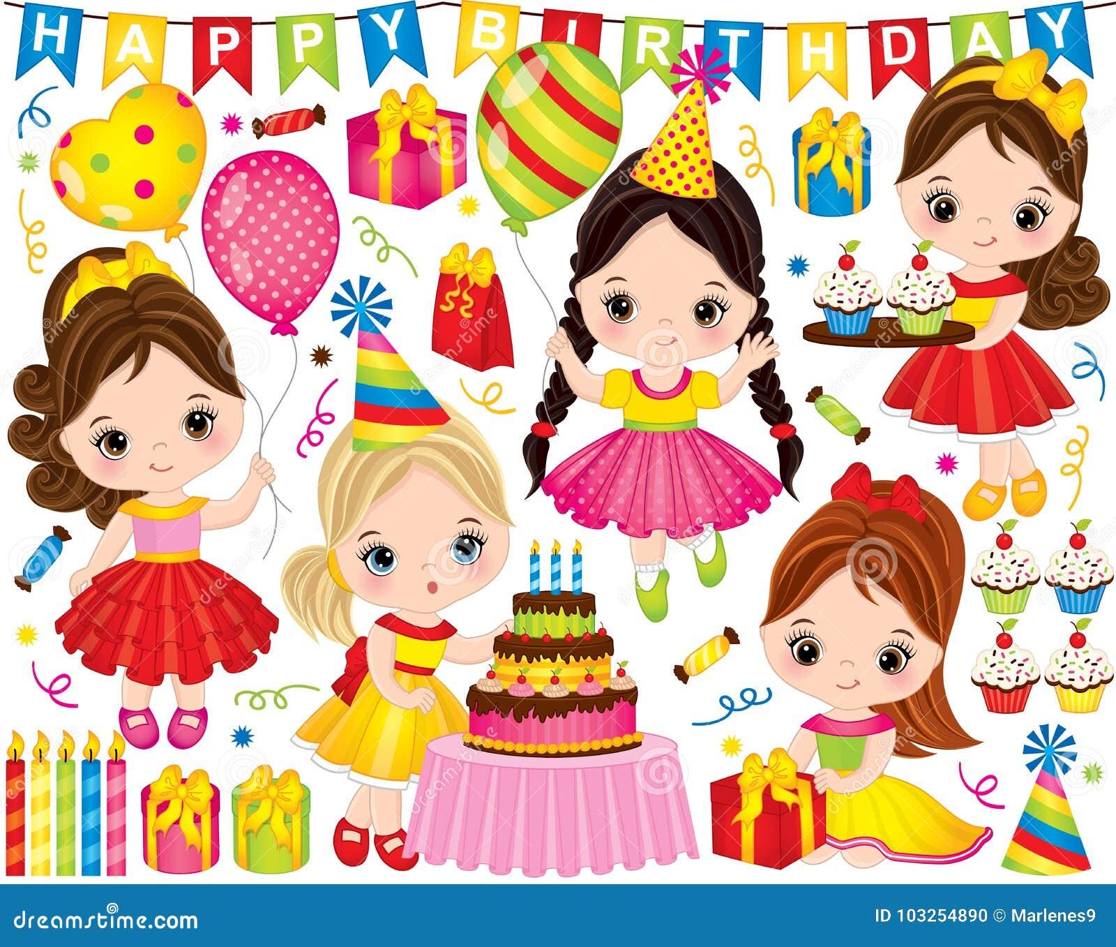 Wektorowy Urodzinowy Ustawiający z Ślicznymi małymi dziewczynkami i Partyjnymi elementami