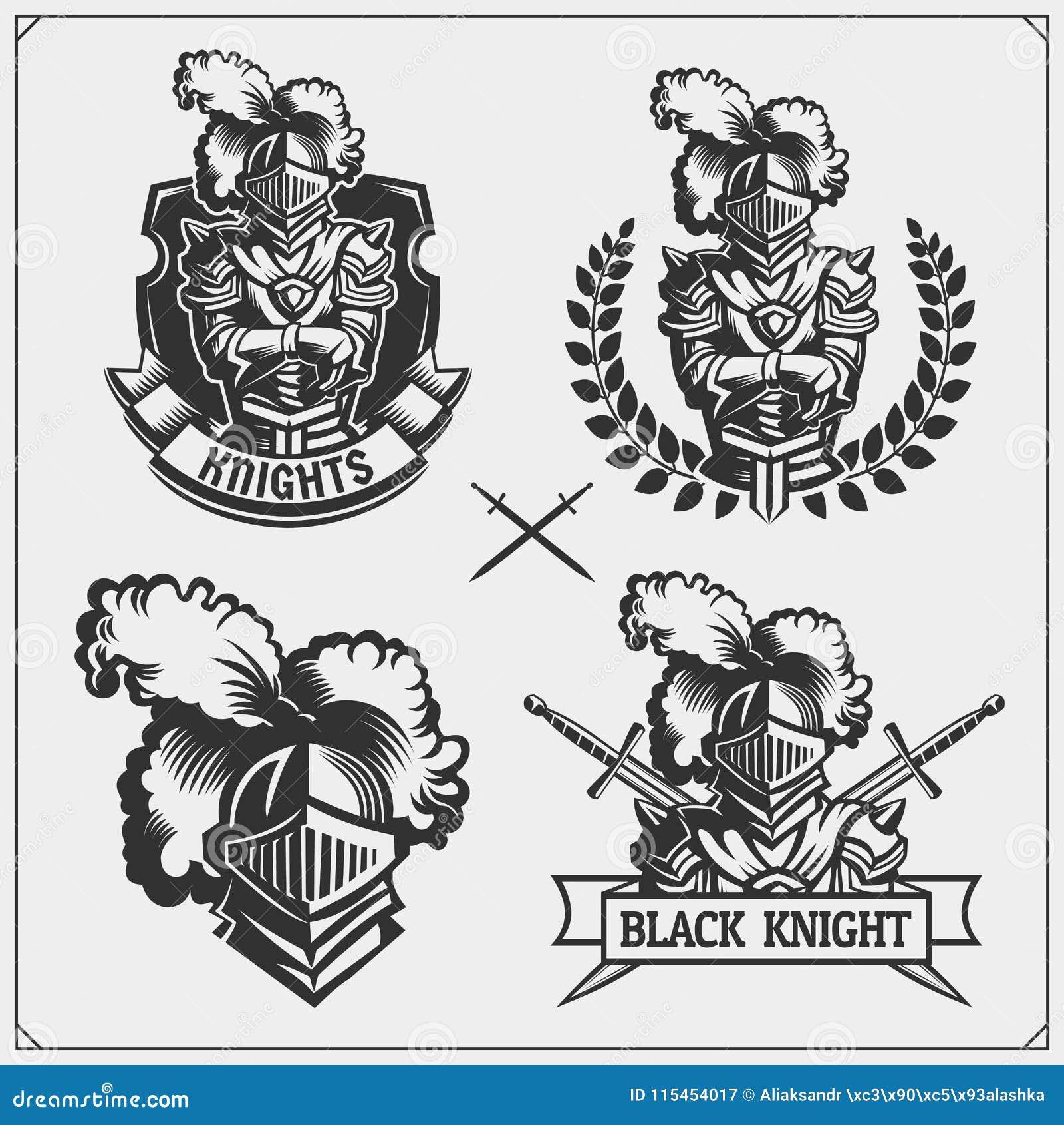 Wektorowy ustawiający średniowieczni wojownika rycerza emblematy, logowie, etykietki, odznaka emblematy, znaki i projektów elemen