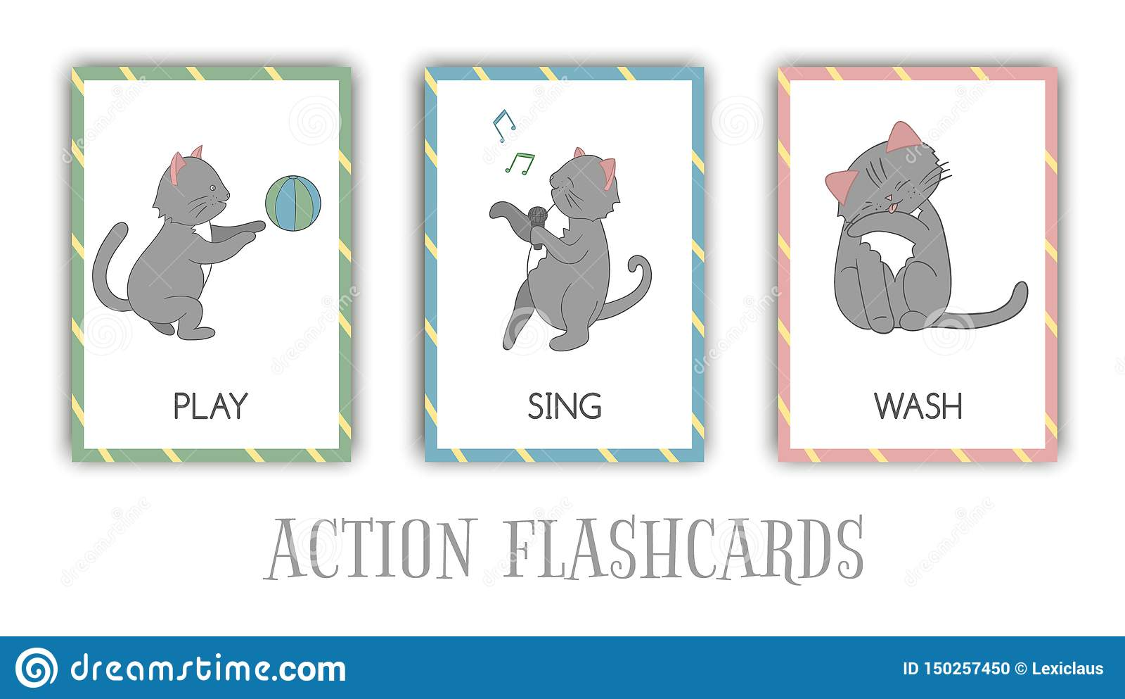 Wektorowy ustawiający akcji błyskowe karty z kotem
