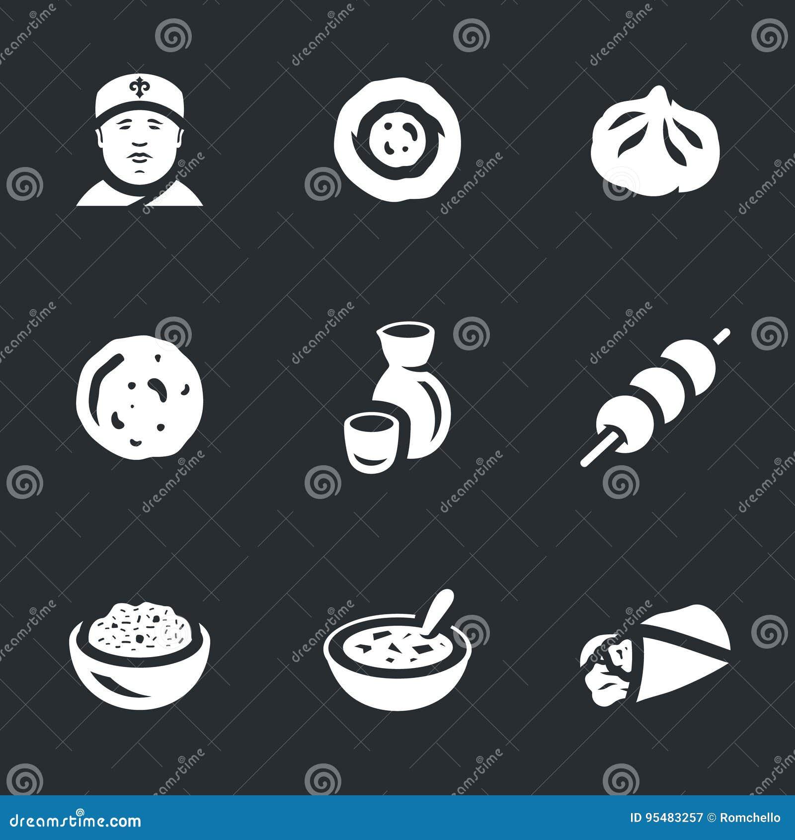 Wektorowy Ustawiający Azjatyckie karmowe ikony