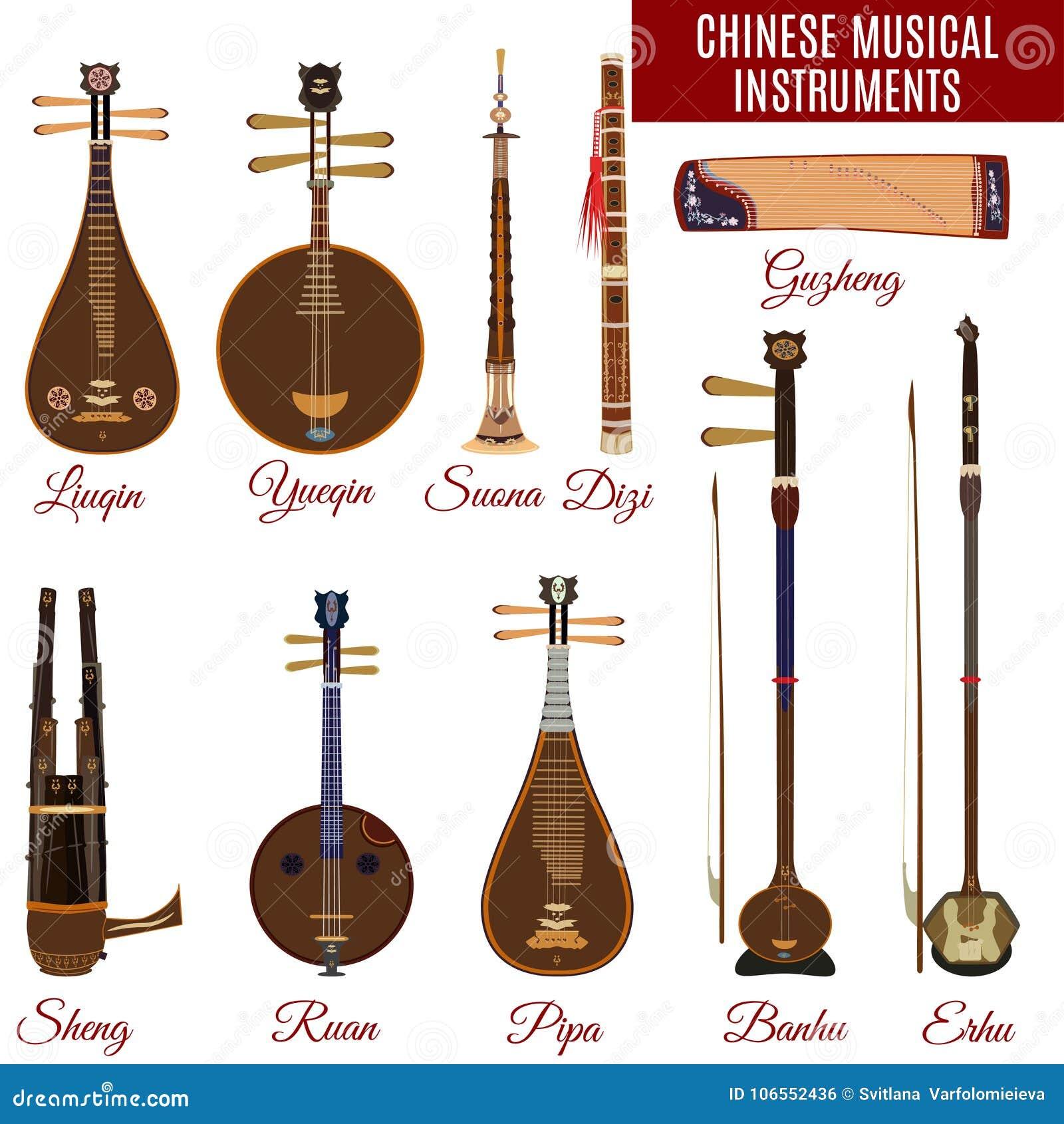 Wektorowy ustawiający chińscy instrumenty muzyczni, mieszkanie styl