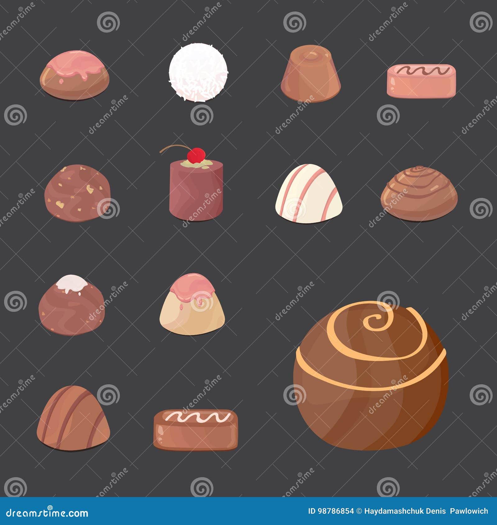 Wektorowy ustawiający czekoladowi cukierki kreskówki illustartion na ciemnym tle