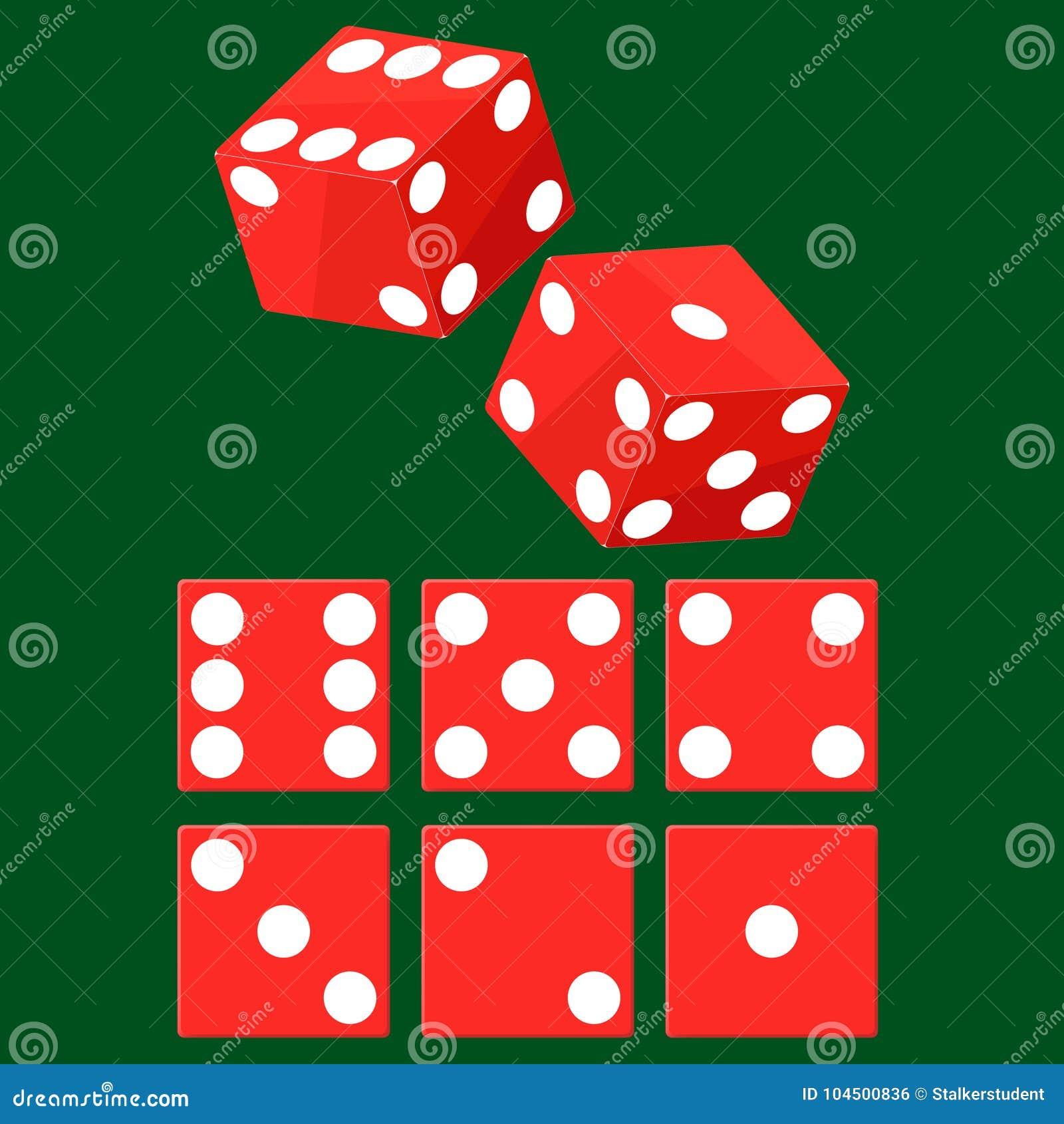 Wektorowy ustawiający czerwonych kasynowych kostka do gry odgórny widok odizolowywający na zielonym grzebaka stole