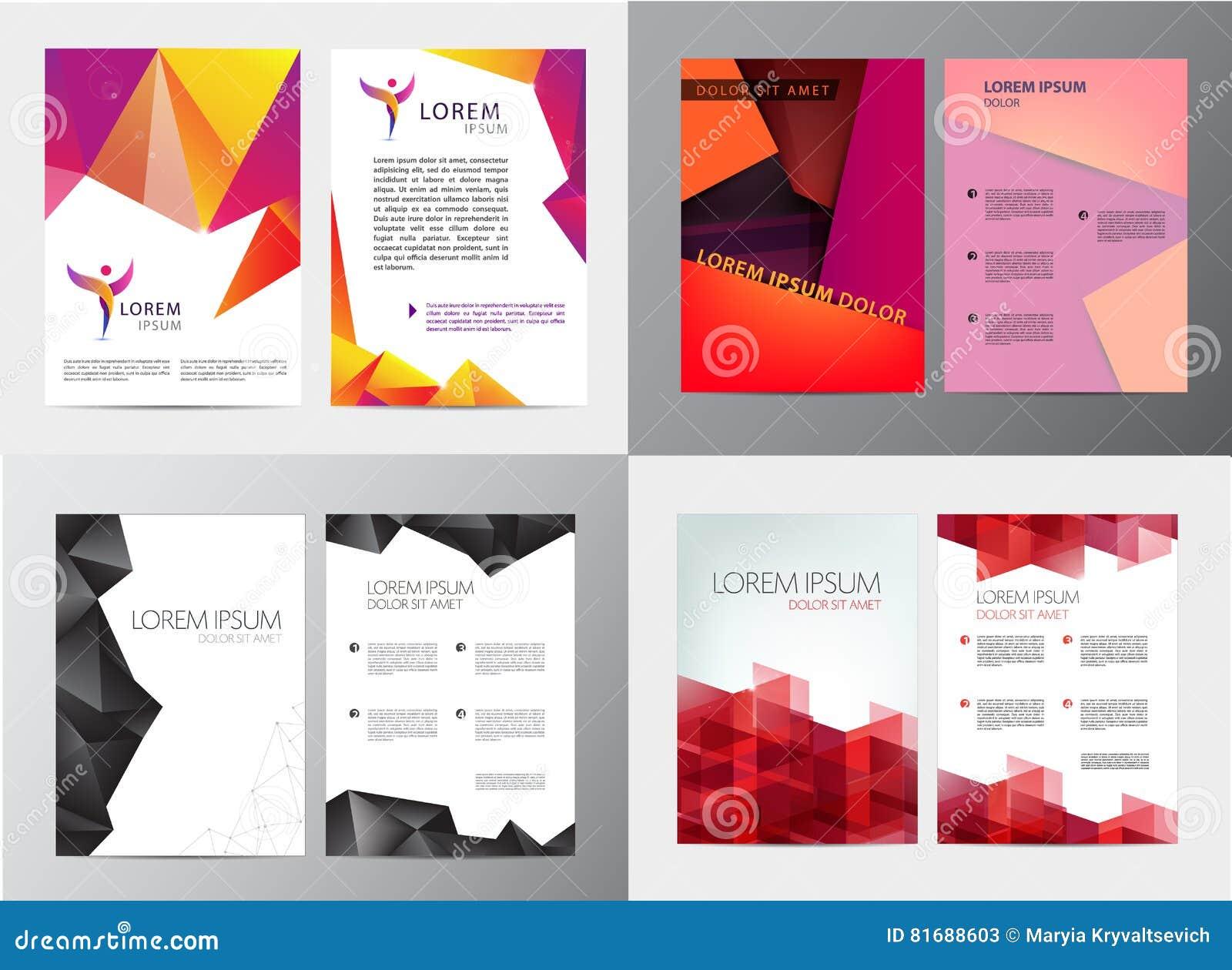 Wektorowy ustawiający dokument, broszurka i letterhead szablon, listu lub loga stylu pokrywy projektujemy mockup dla biznesu