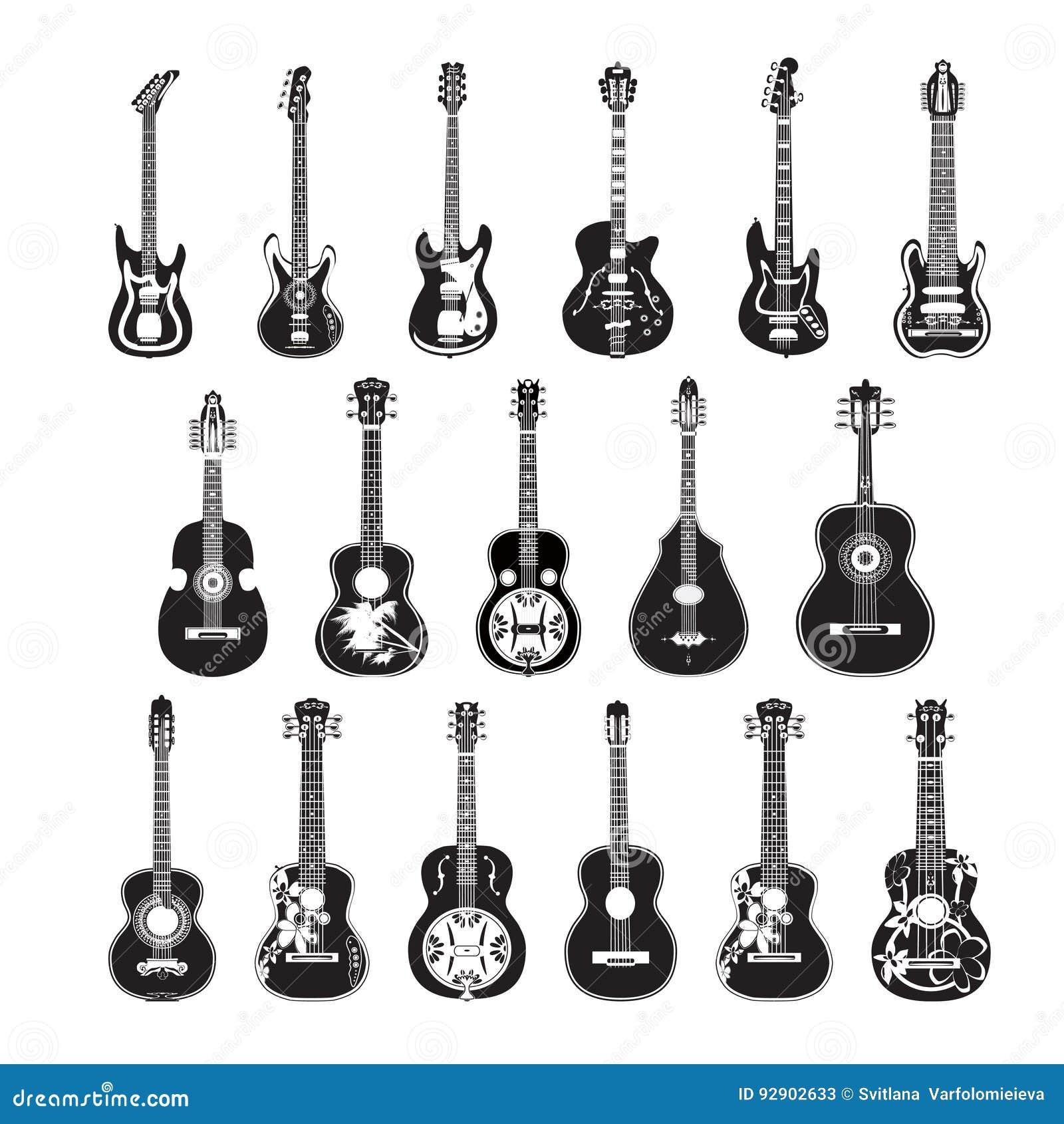 Wektorowy ustawiający gitary w mieszkanie stylu