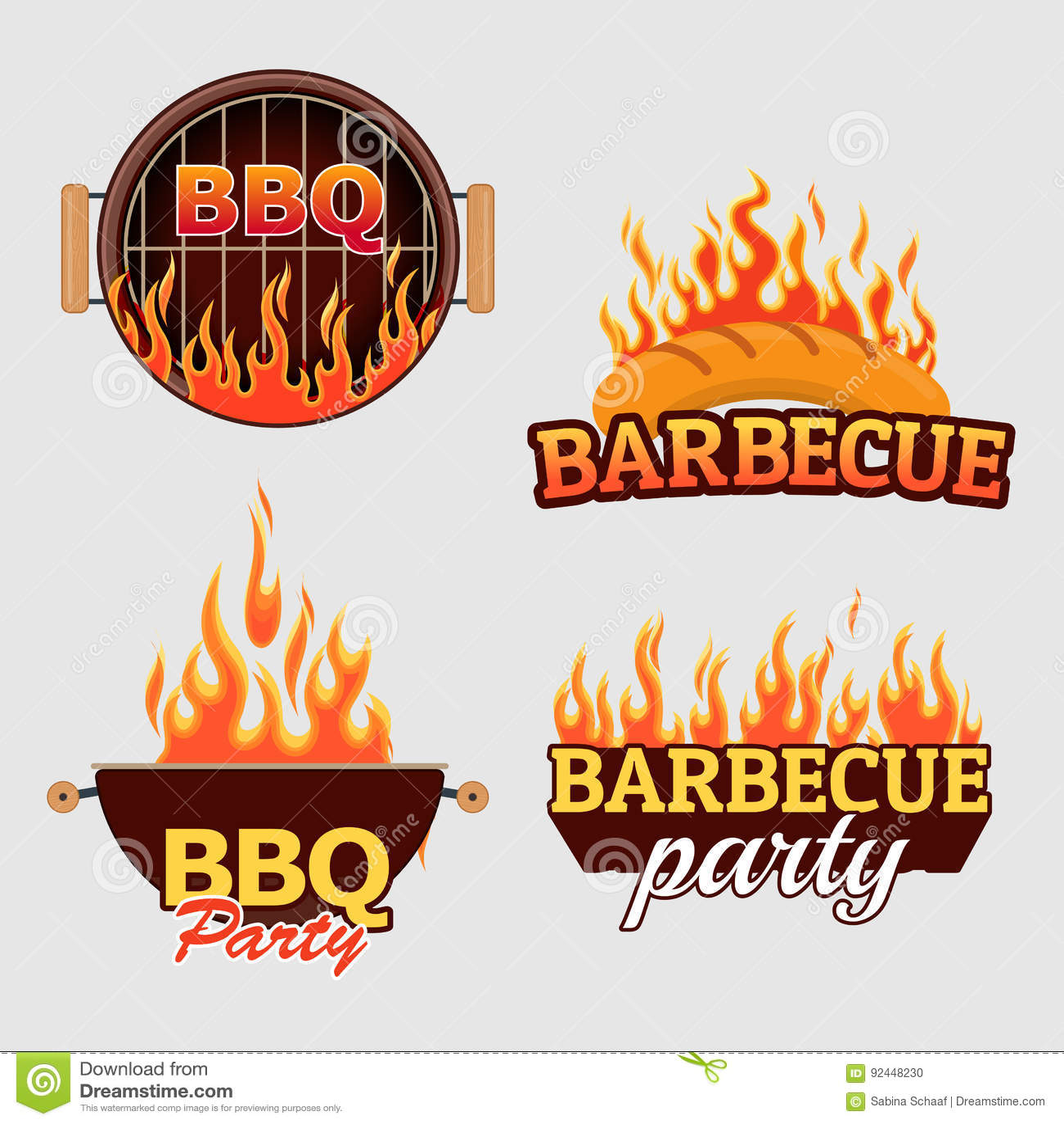 Wektorowy ustawiający grill etykietki i logowie