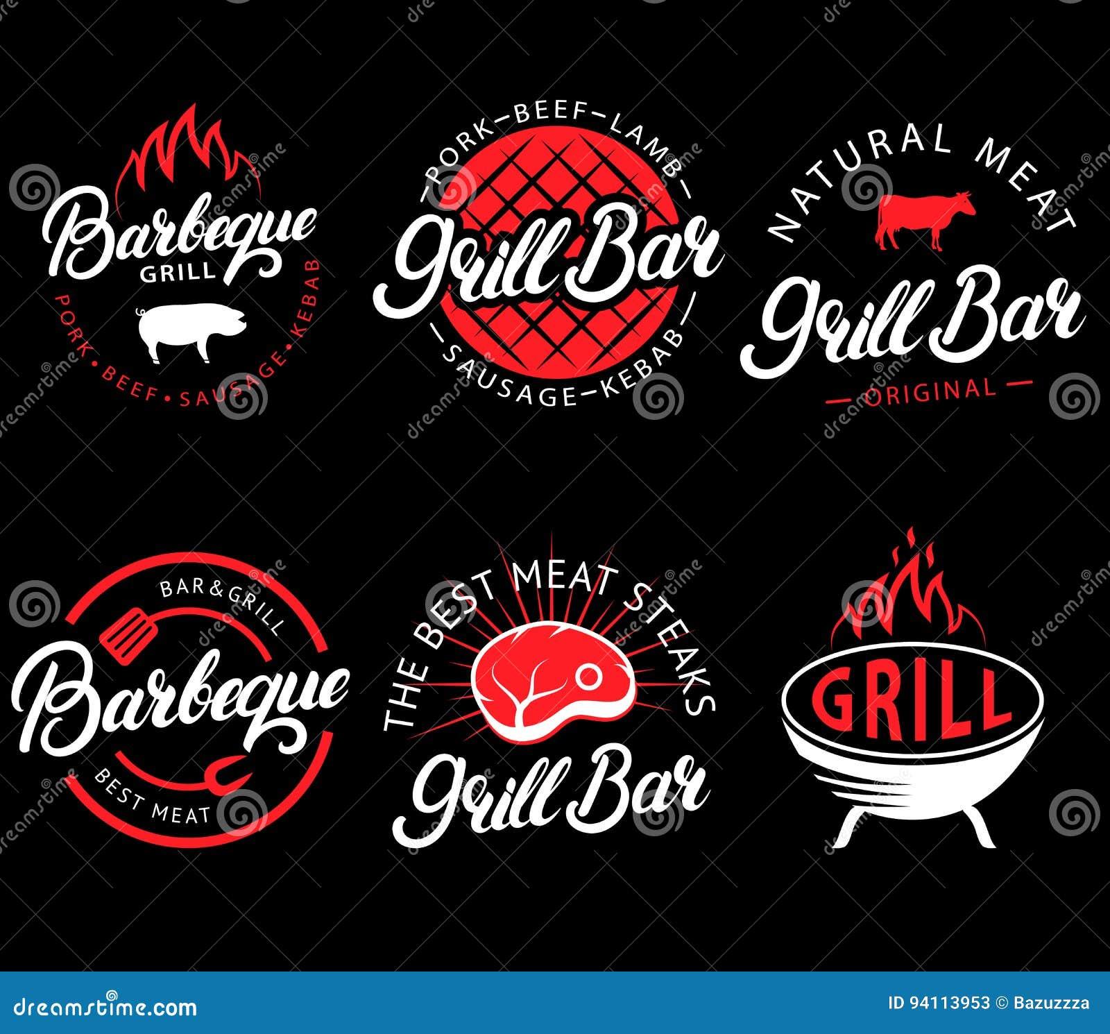 Wektorowy ustawiający grilla bar i bbq etykietki w retro stylu Rocznika grilla restauracyjni emblematy, logo, majchery i projekt,