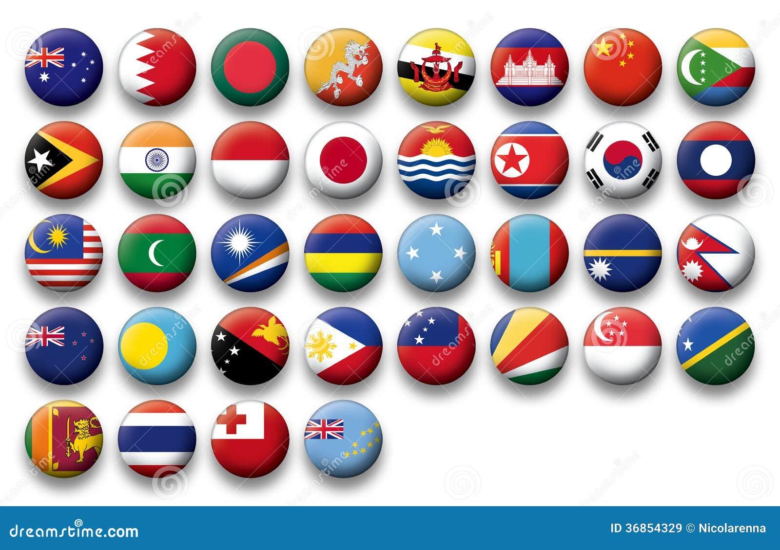 Wektorowy Ustawiający guzik flaga Oceania i Pacyfik