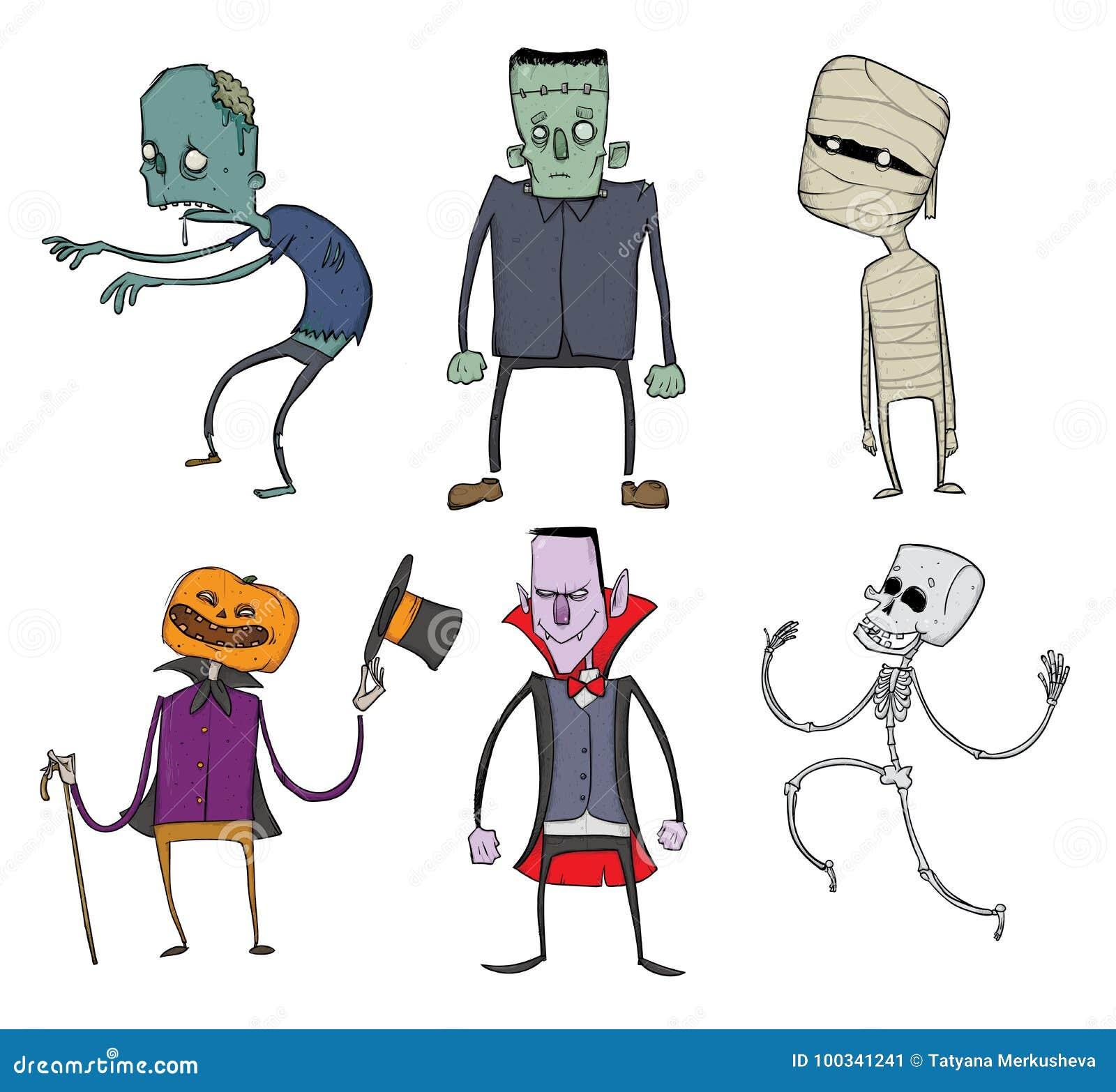 Wektorowy Ustawiający Halloweenowi charaktery Żywy trup, kościec, mamusia, Dracula i inni straszni potwory, Ilustracja, odizolowy