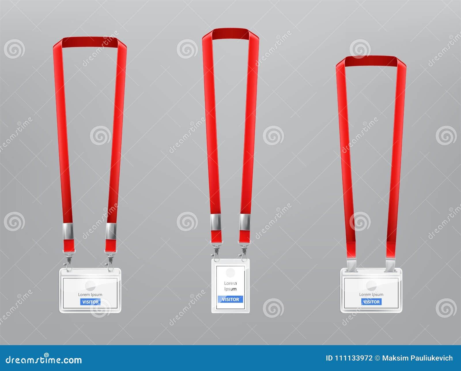 Wektorowy ustawiający ID karty, odznaki z czerwonymi falrepami
