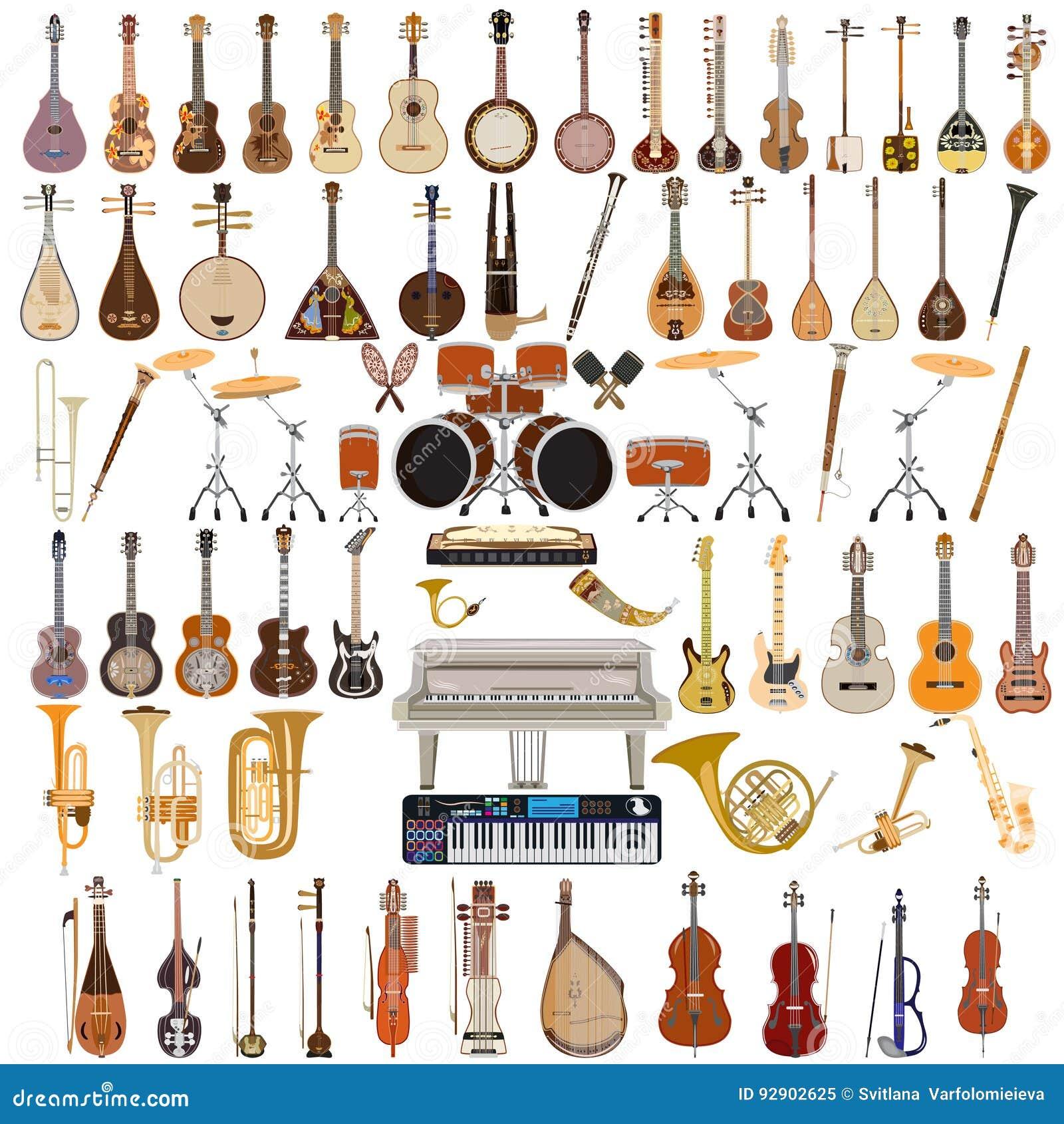 Wektorowy ustawiający instrumenty muzyczni w mieszkanie stylu