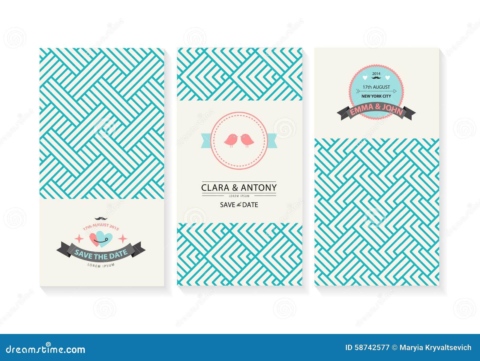 Wektorowy ustawiający karty, ślubni zaproszenia z