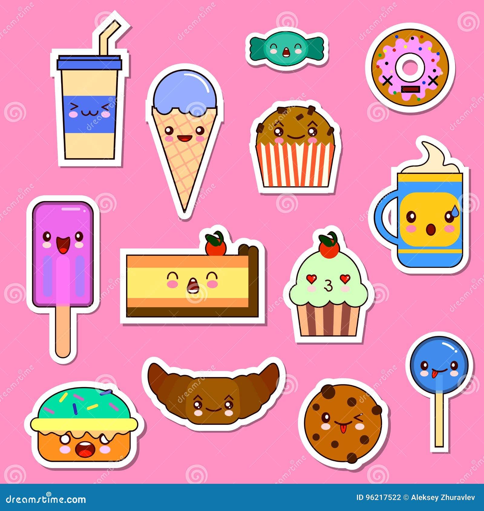 Wektorowy ustawiający Kawaii jedzenia charaktery cukierków i cukierków emoticon majchery
