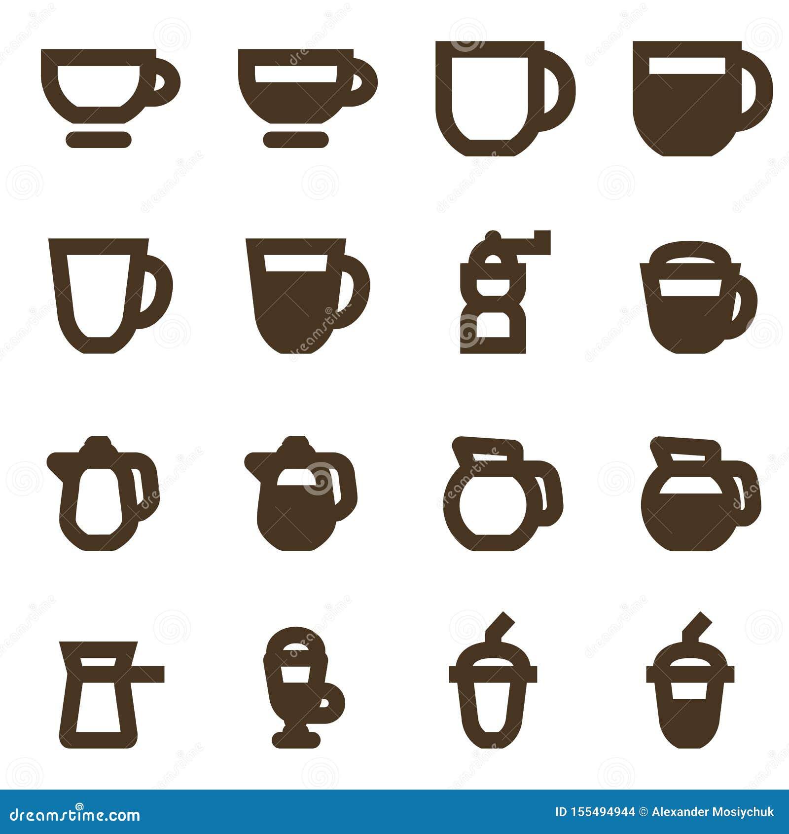 Wektorowy ustawiający kawowe ikony Gorący napojów emblematy Kolekcja kawowi symbole odizolowywający na białym tle