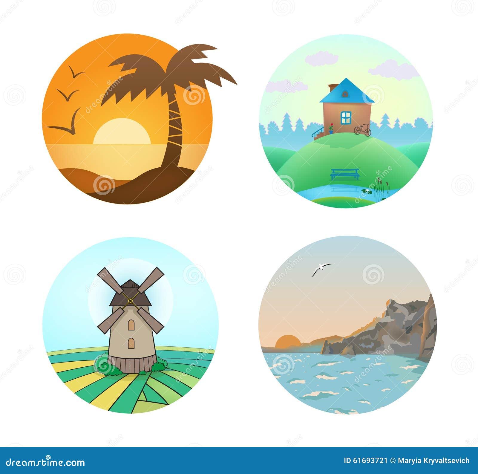 Wektorowy ustawiający krajobrazowe ilustracje